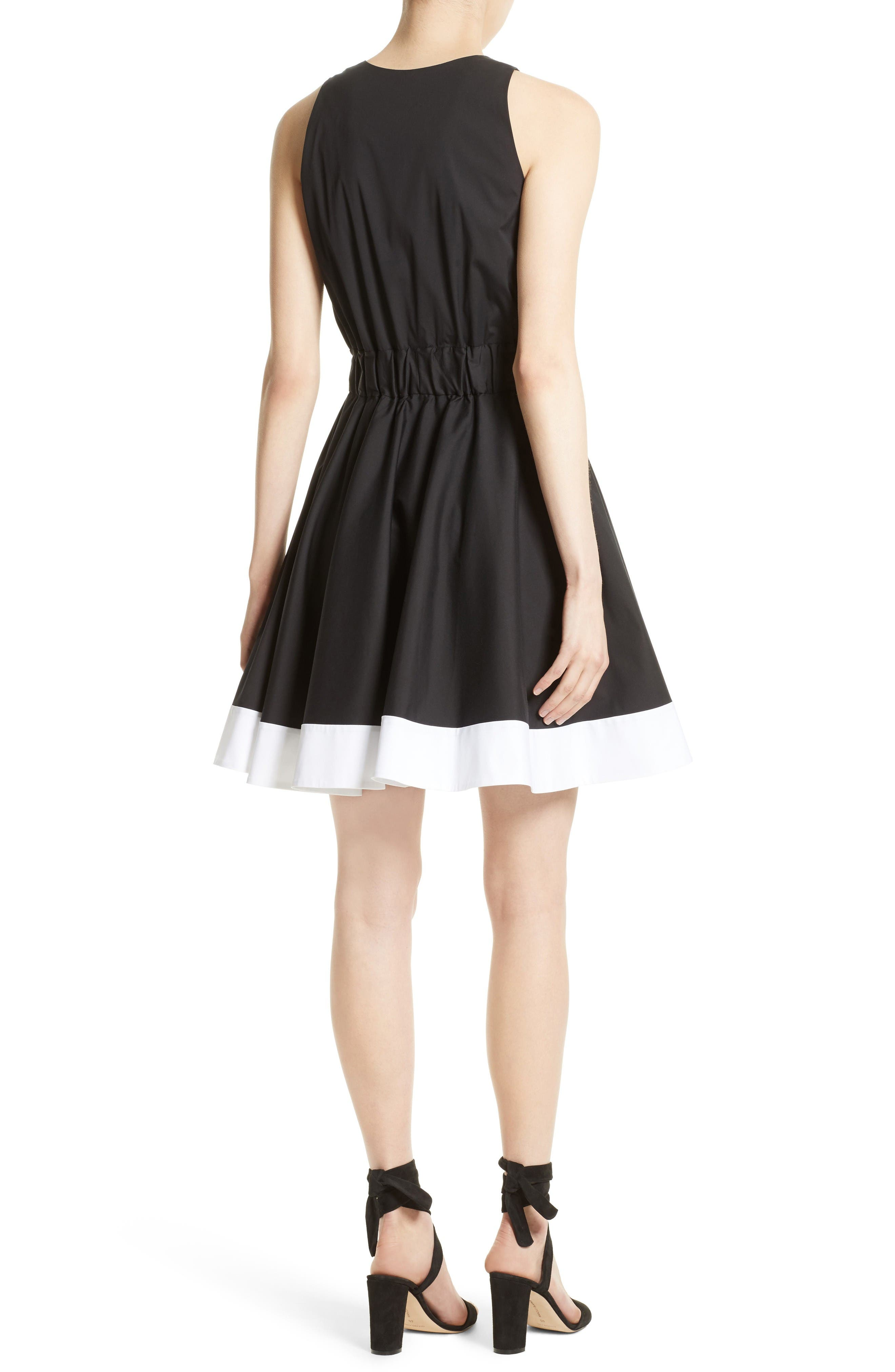 Lola Stretch Poplin Skater Dress,                             Alternate thumbnail 2, color,                             Black/ White