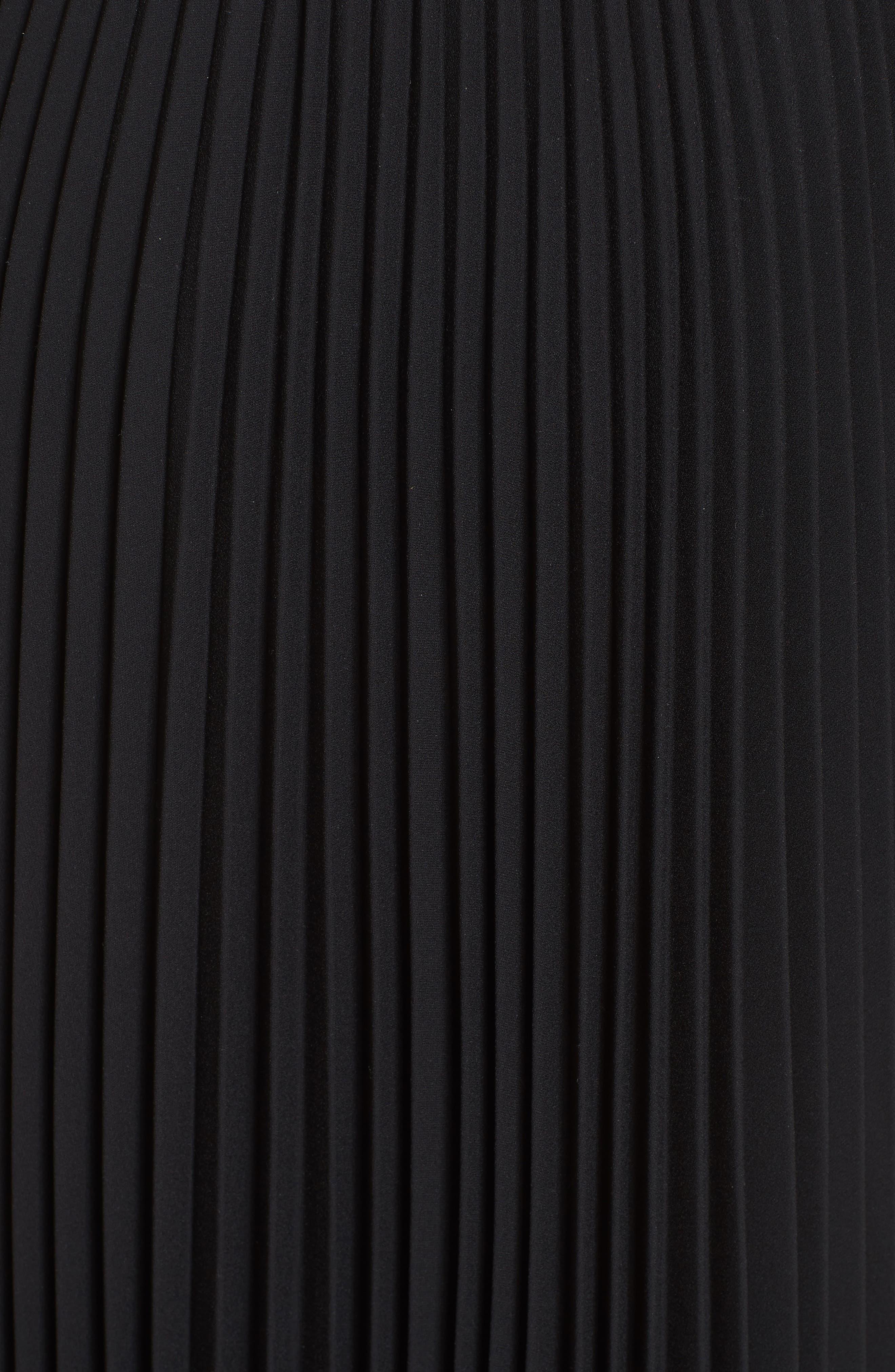 Pleated Crêpe de Chine Midi Skirt,                             Alternate thumbnail 4, color,                             Black