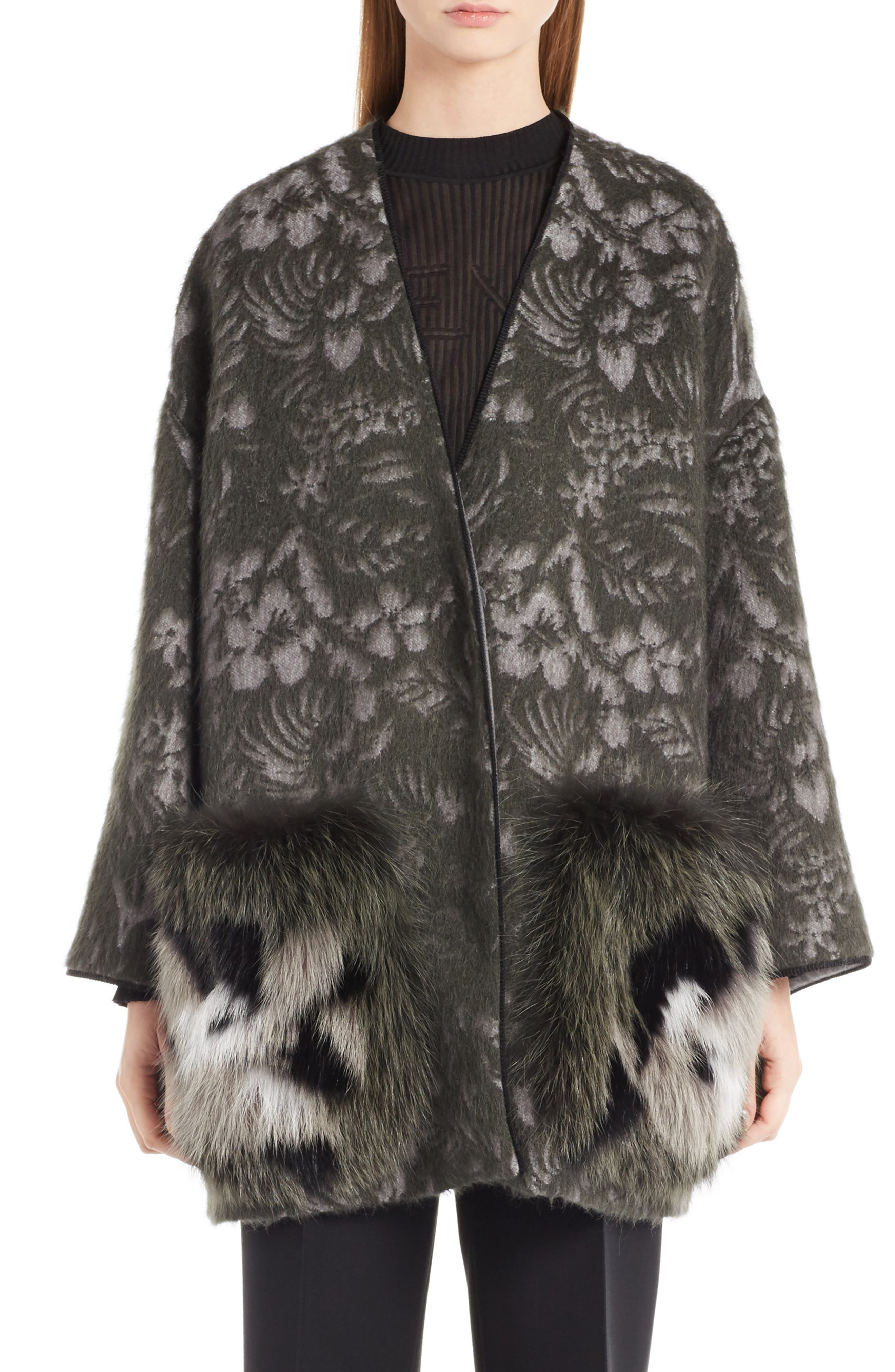Fendi Floral Jacket with Genuine Fox Fur Pockets