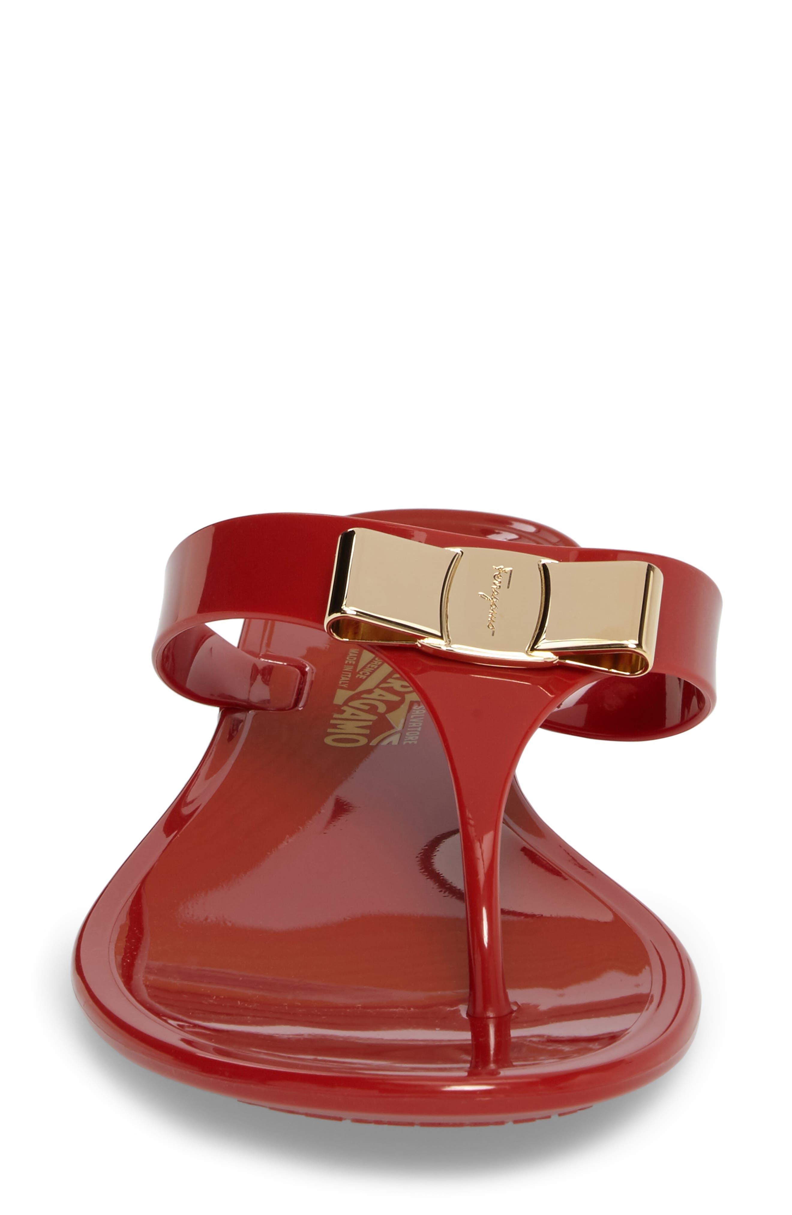 Farelia Jelly Flat Bow Sandal,                             Alternate thumbnail 4, color,                             Red Pvc