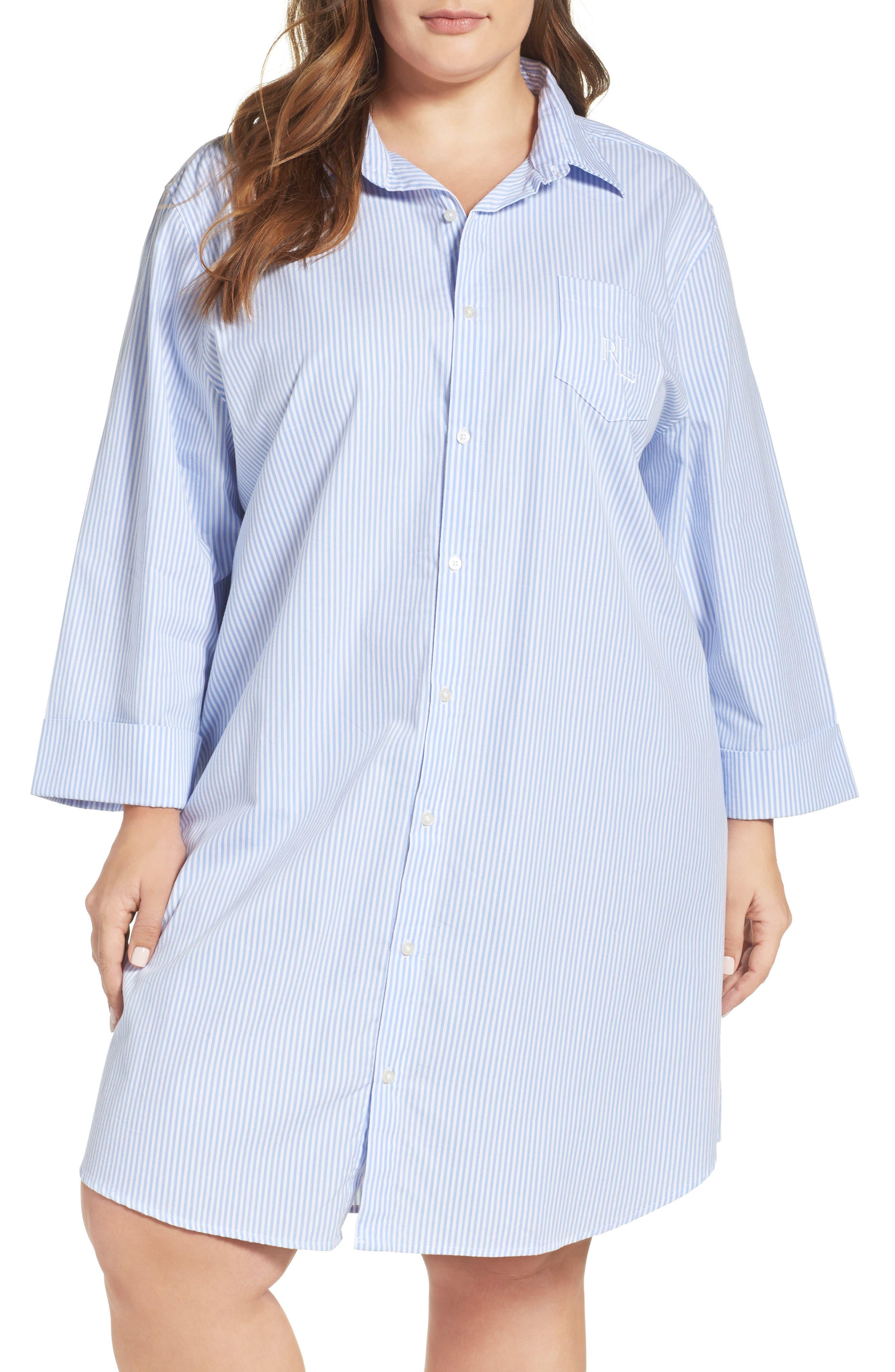 Sleep Shirt,                         Main,                         color, Stripe French Blue/ White