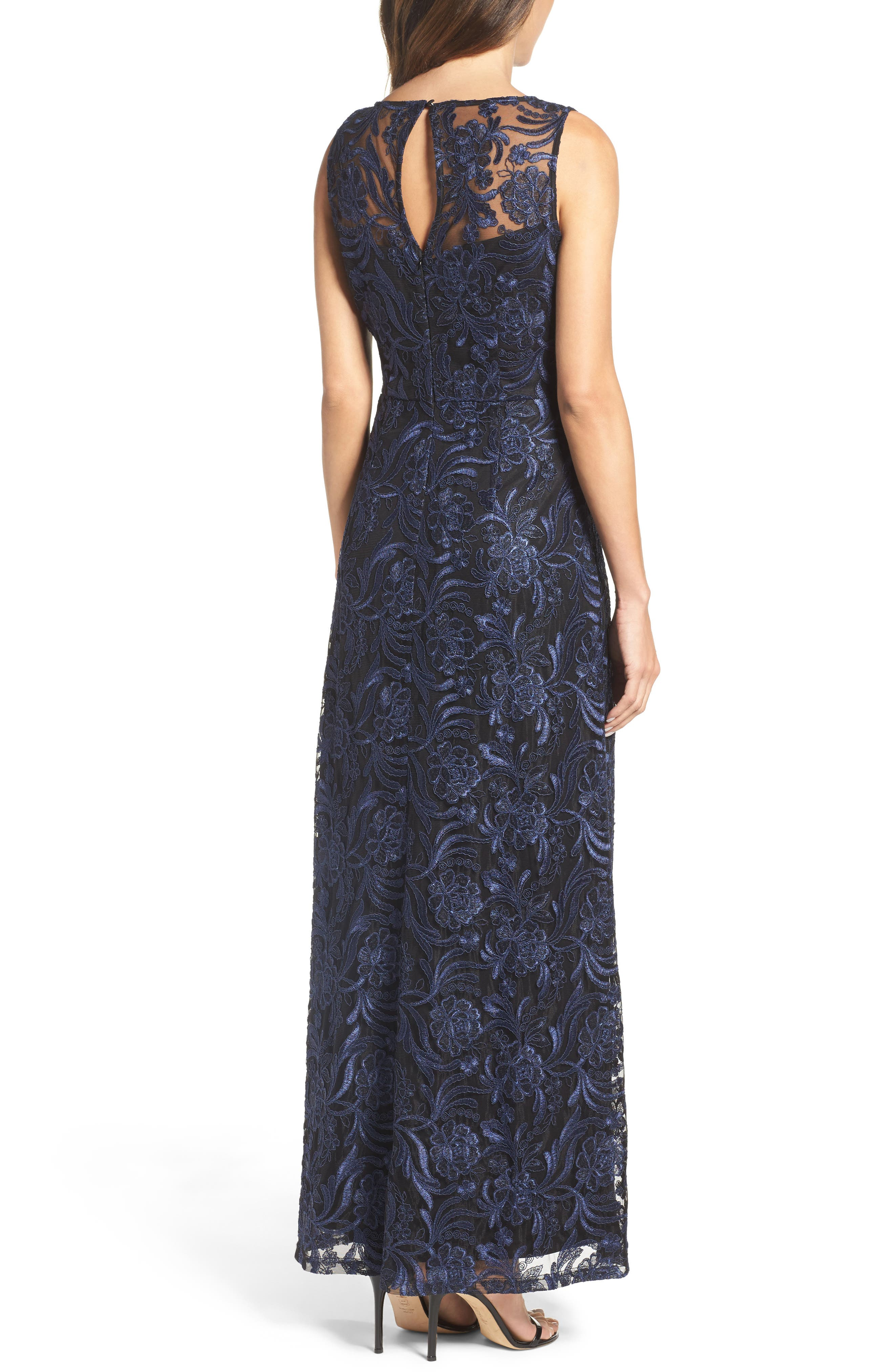 Corded Mesh Gown,                             Alternate thumbnail 2, color,                             Navy