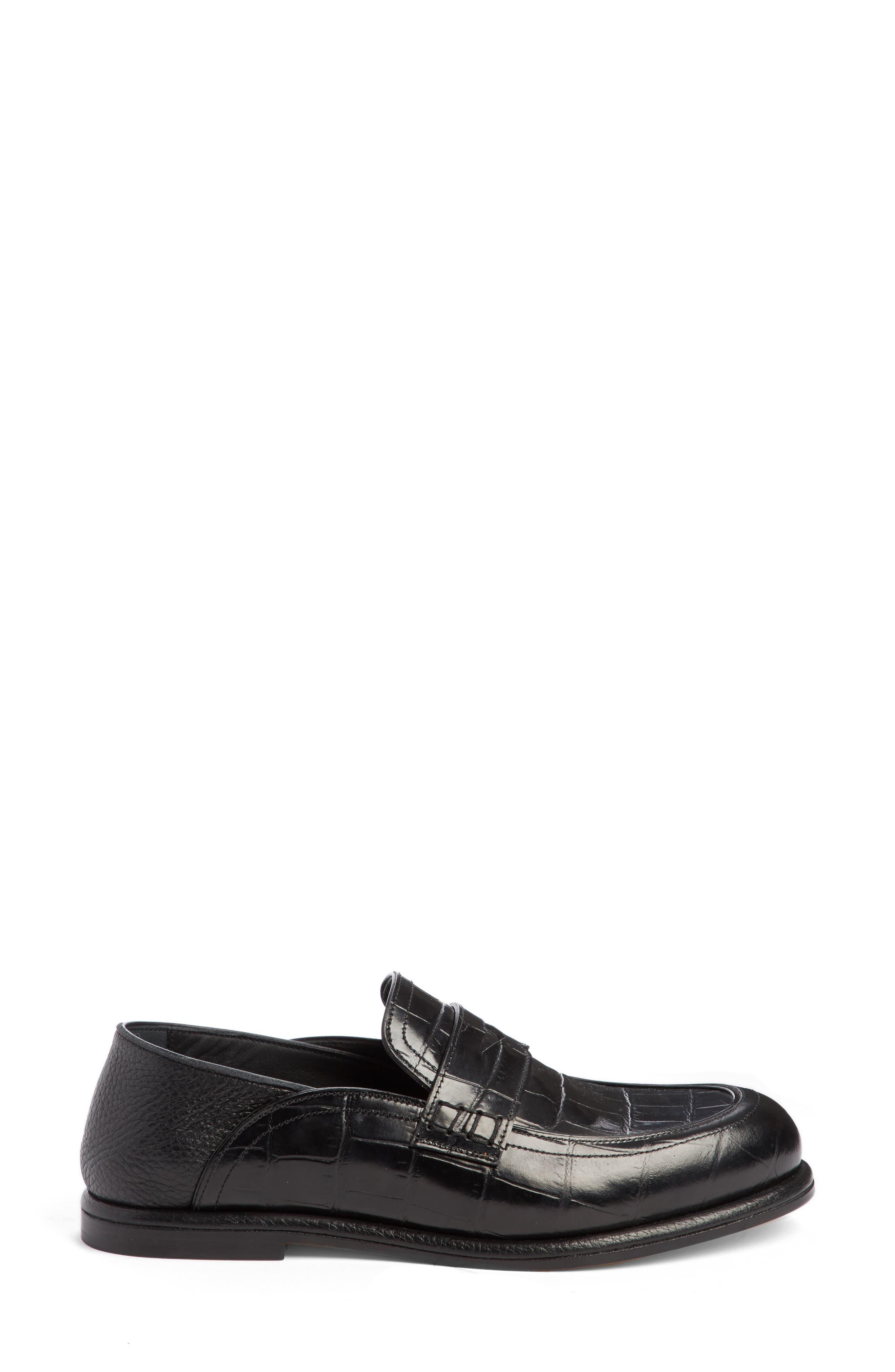 Croc Embossed Convertible Loafer,                             Alternate thumbnail 2, color,                             Black