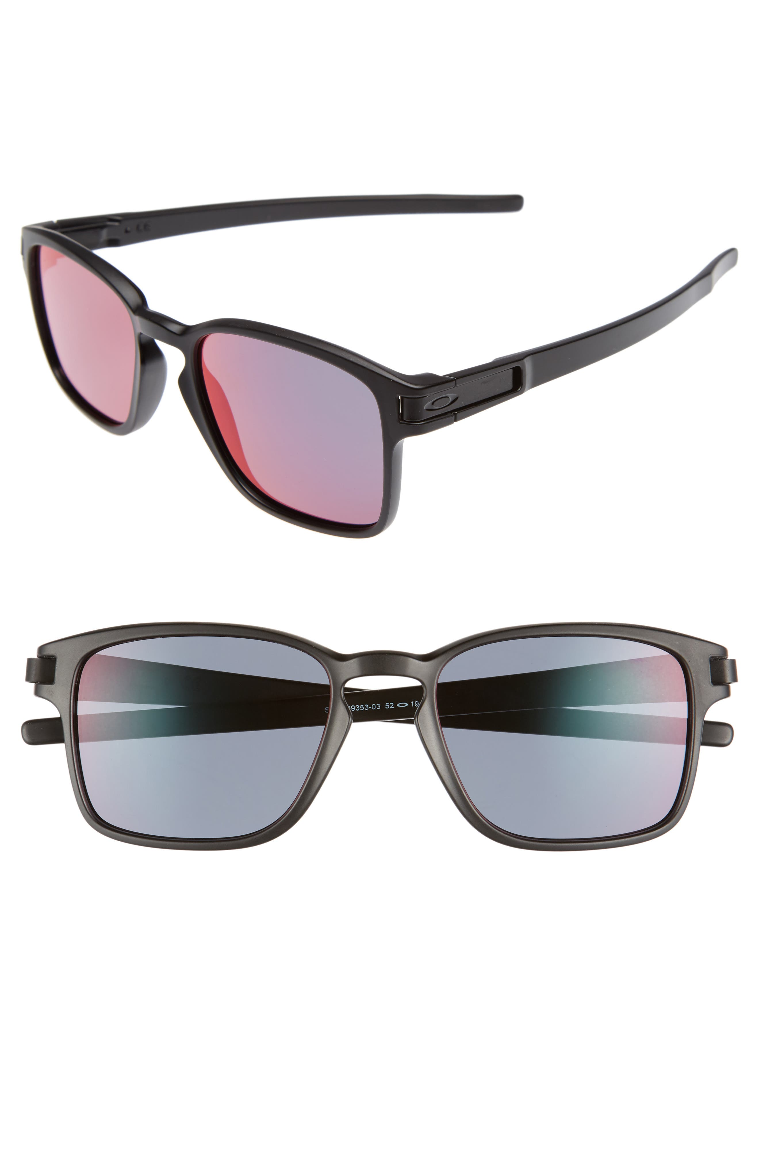 Latch 52mm Rectangular Sunglasses,                         Main,                         color, Matte Black/ Iridium P