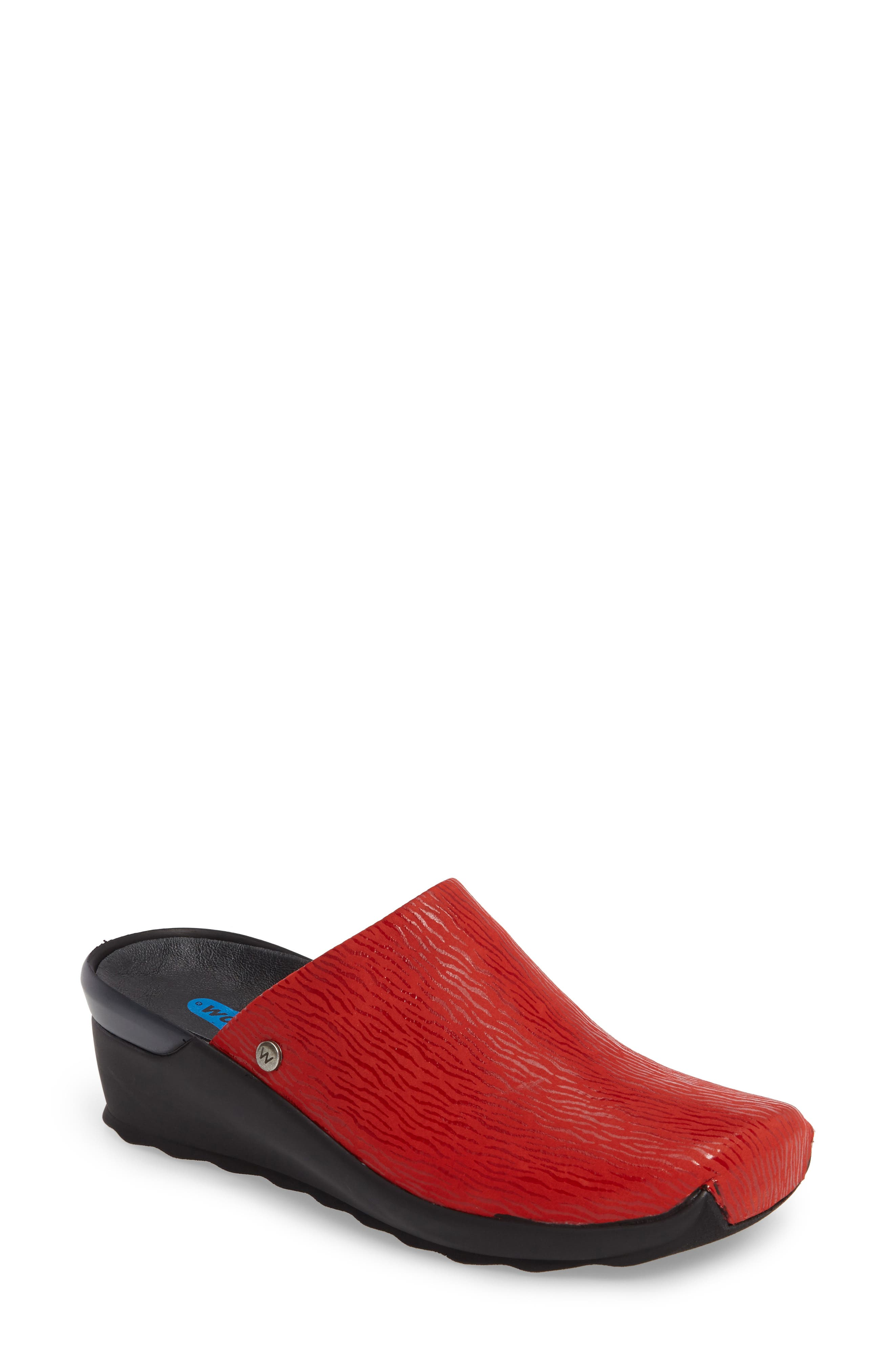 Go Clog,                             Main thumbnail 1, color,                             Red Leather