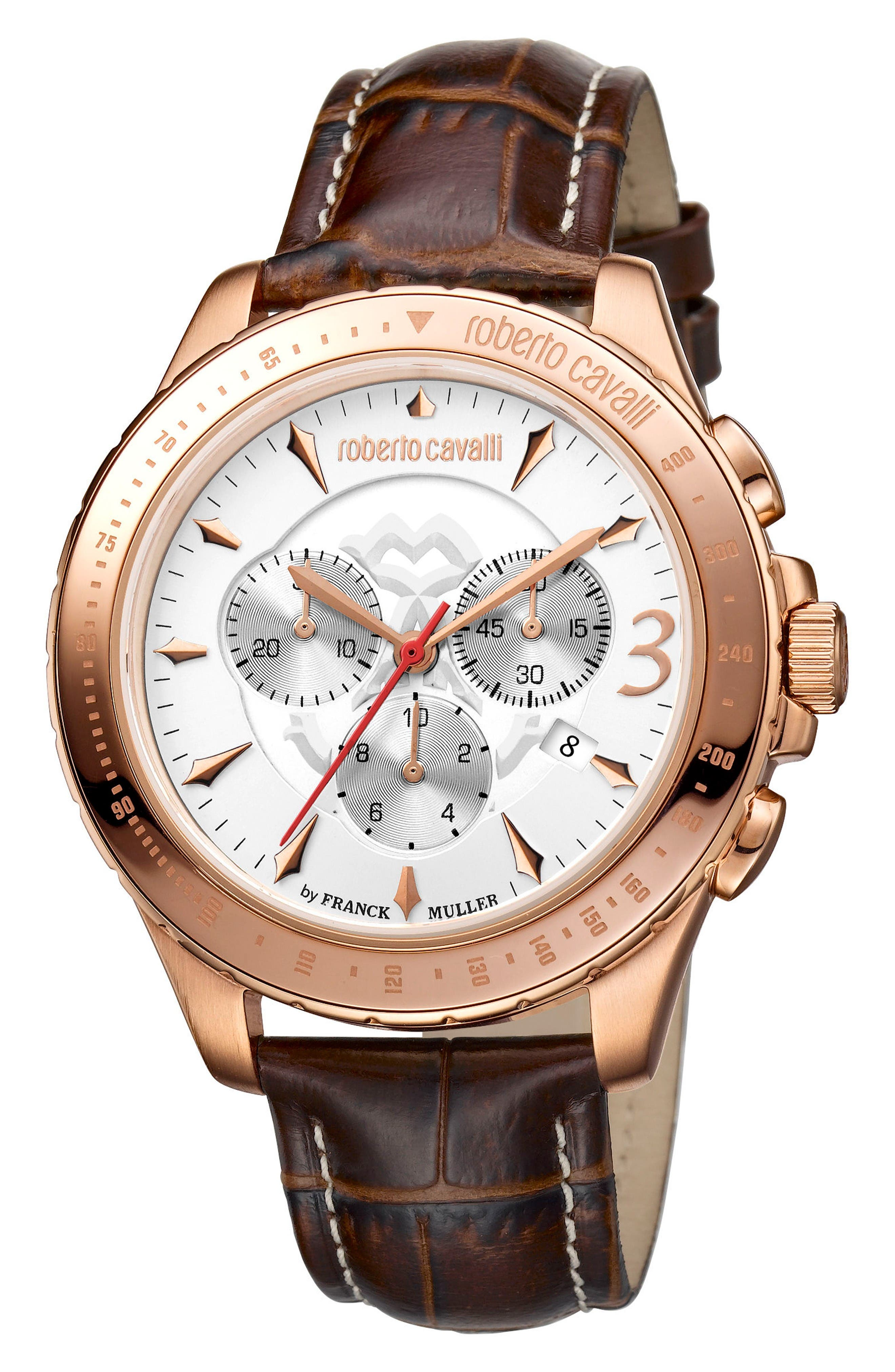 Chronograph Leather Strap Watch, 43mm,                         Main,                         color, Brown/ White/ Rose Gold