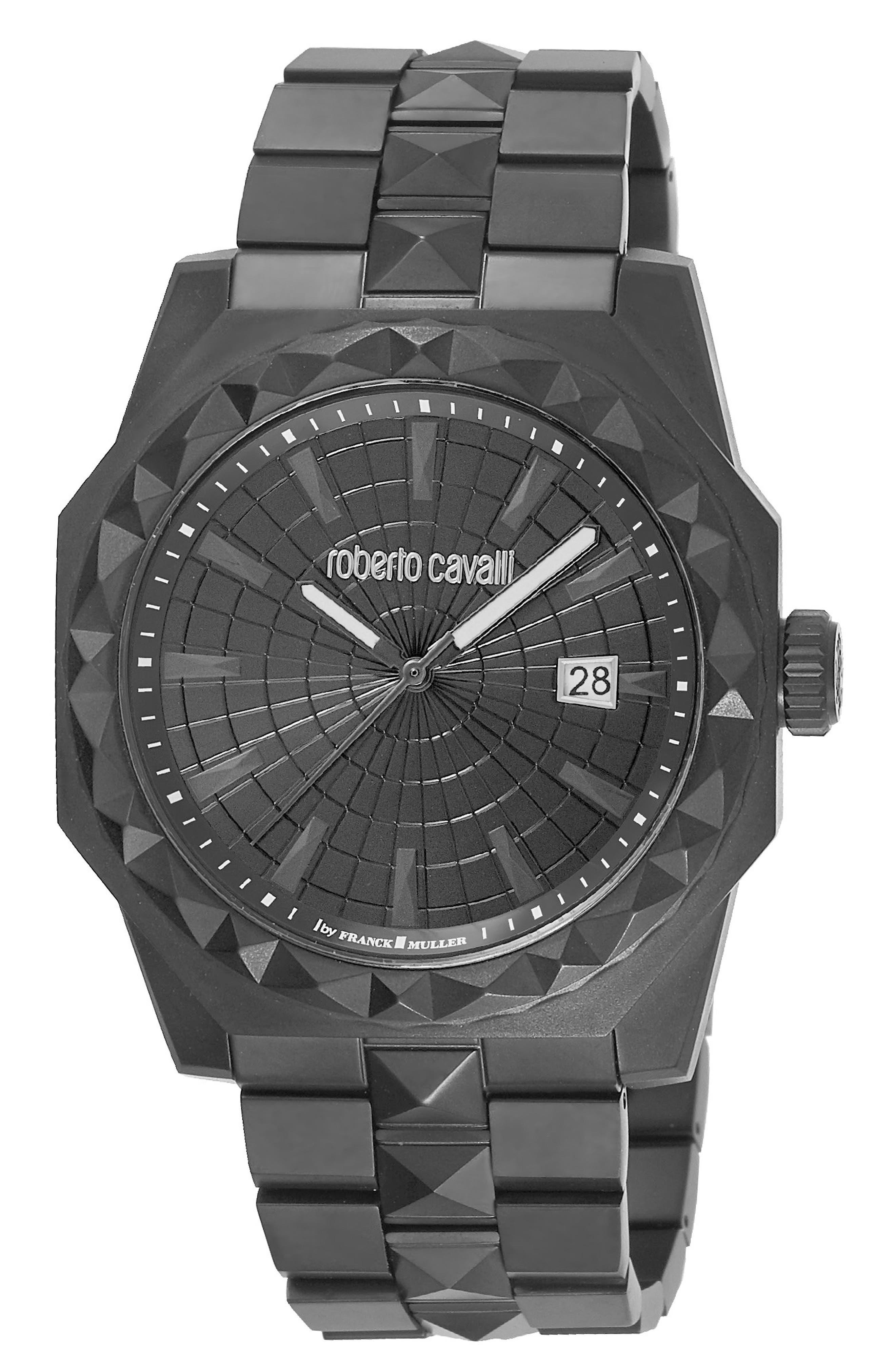 Pyramid Bracelet Watch, 43mm,                             Main thumbnail 1, color,                             Black
