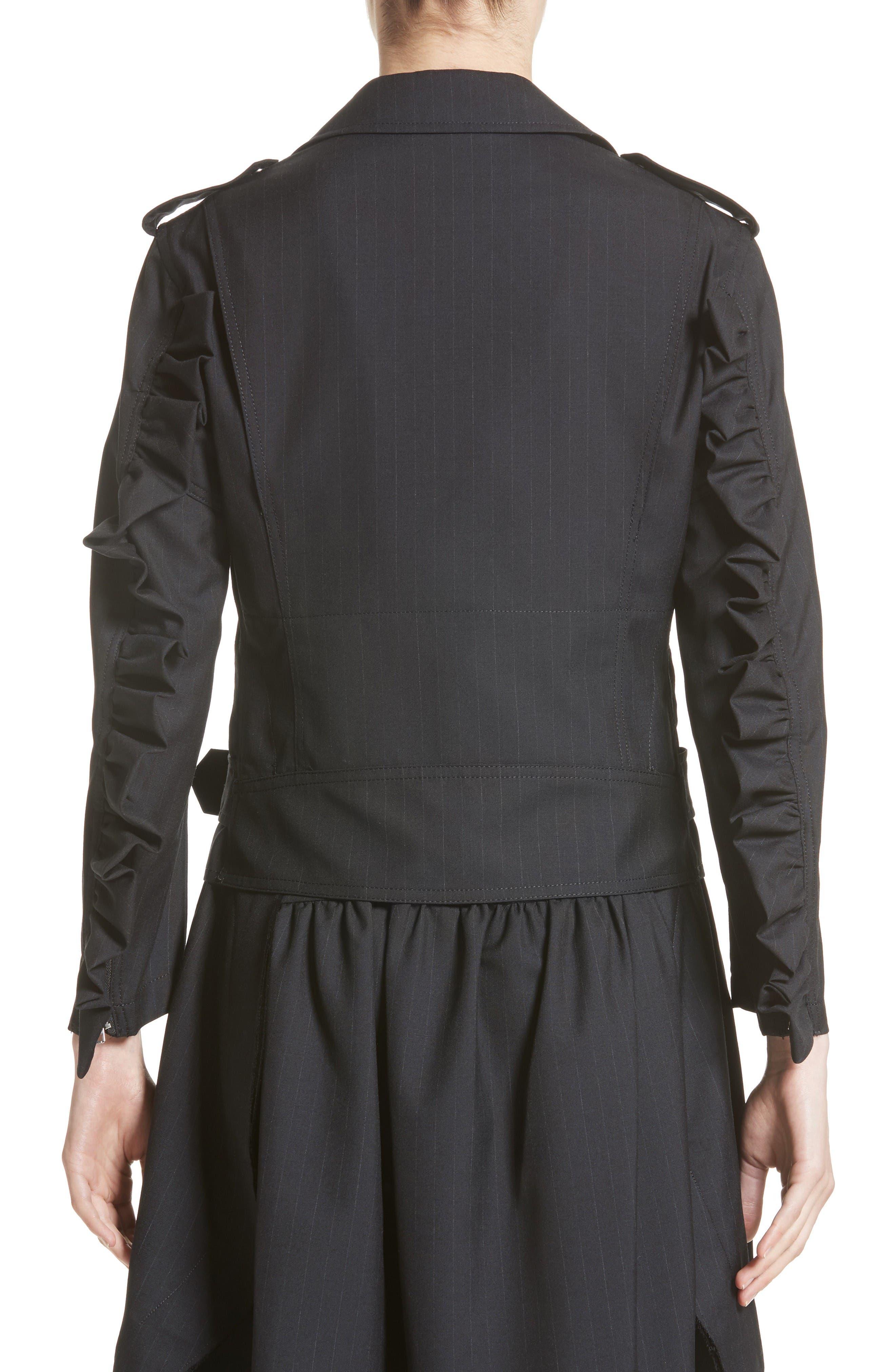 Alternate Image 2  - Comme des Garçons Pinstripe Tropical Wool Moto Jacket