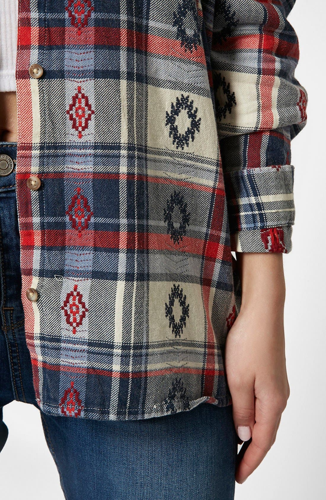 Alternate Image 4  - Topshop Check Embroidered Shirt