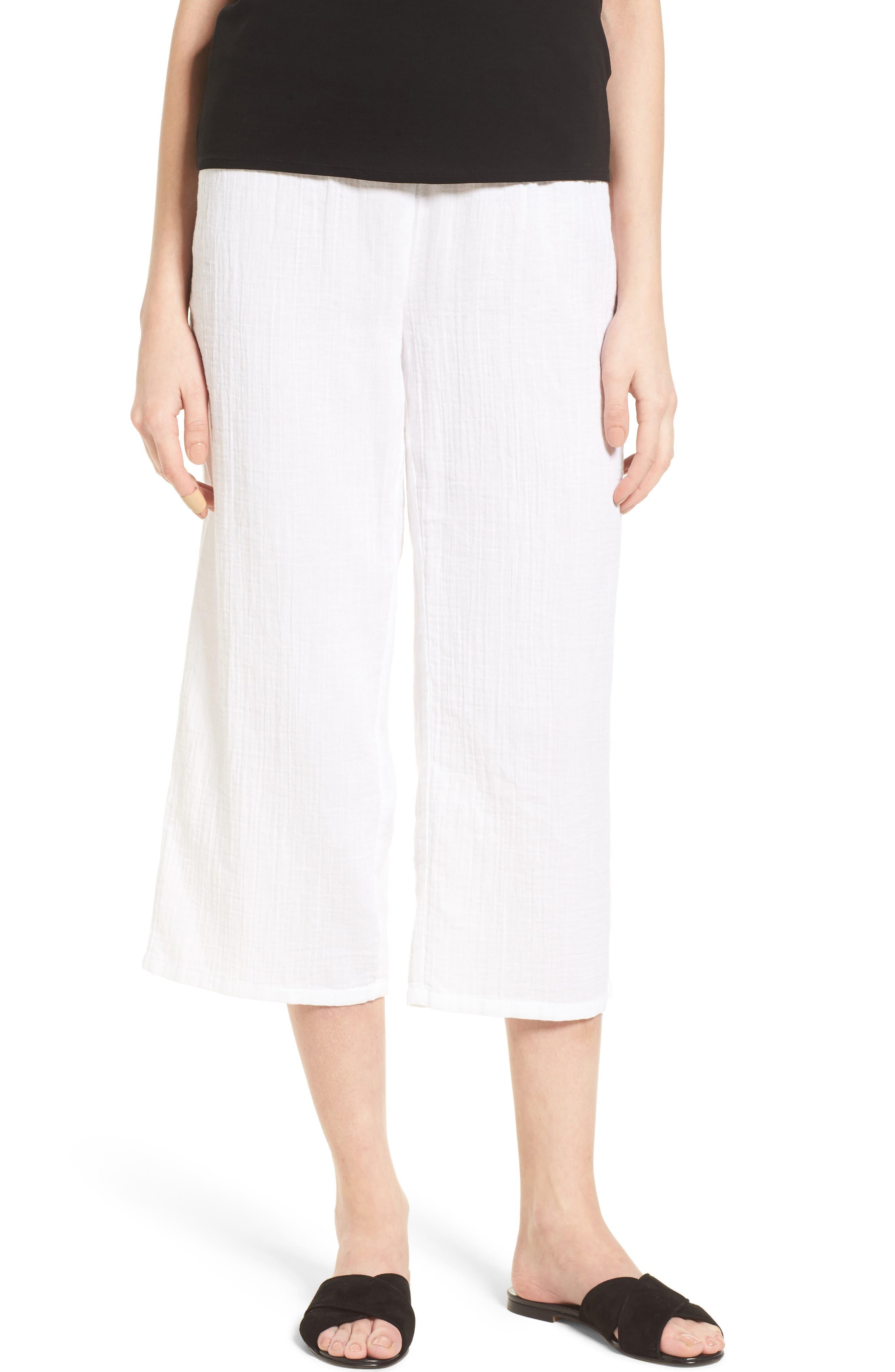 Organic Cotton Crop Pants,                         Main,                         color, White