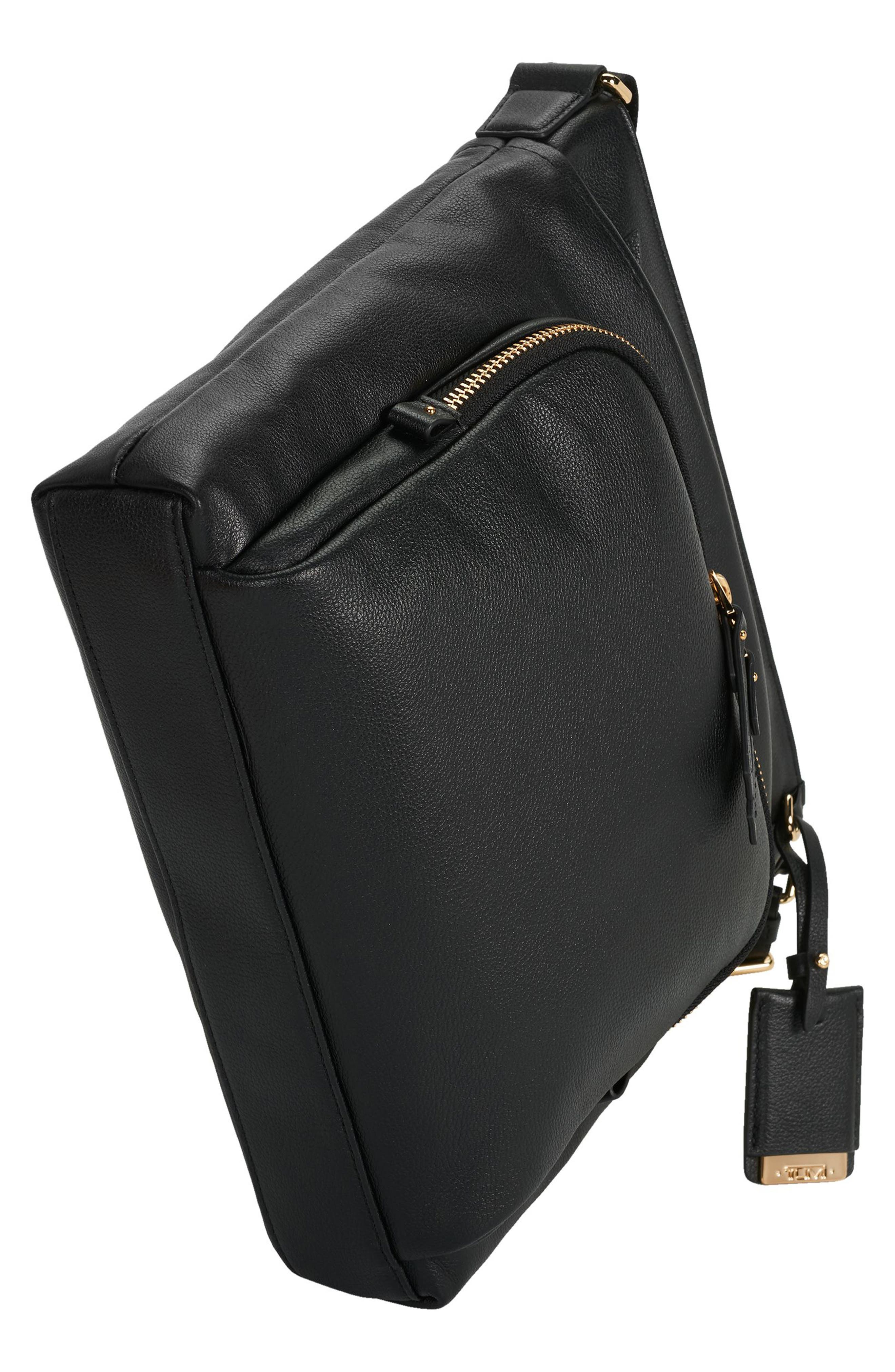 Voyageur - Capri Leather Crossbody Bag,                             Alternate thumbnail 4, color,                             Black