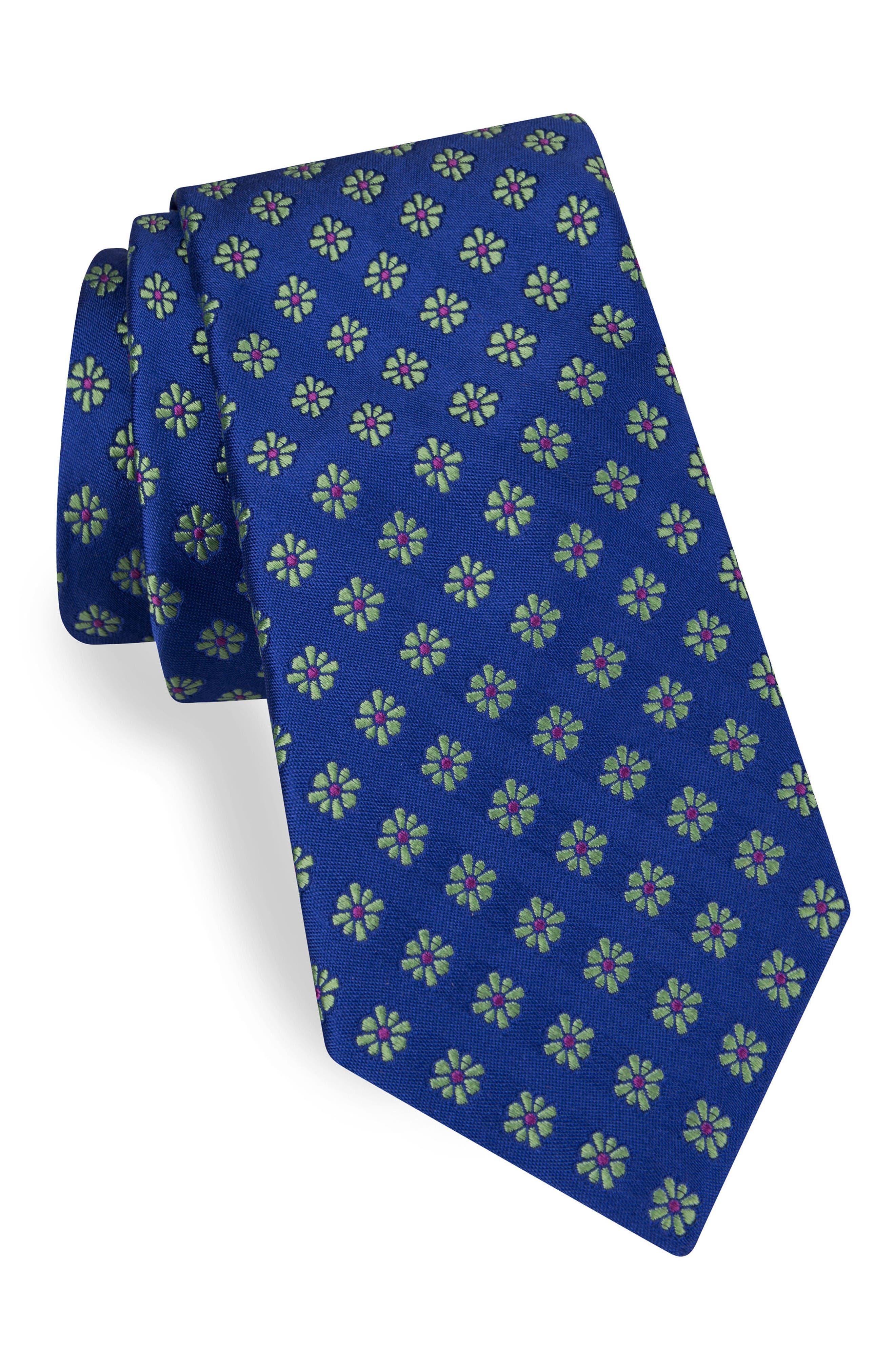Medallion Silk Tie,                             Main thumbnail 1, color,                             Royal