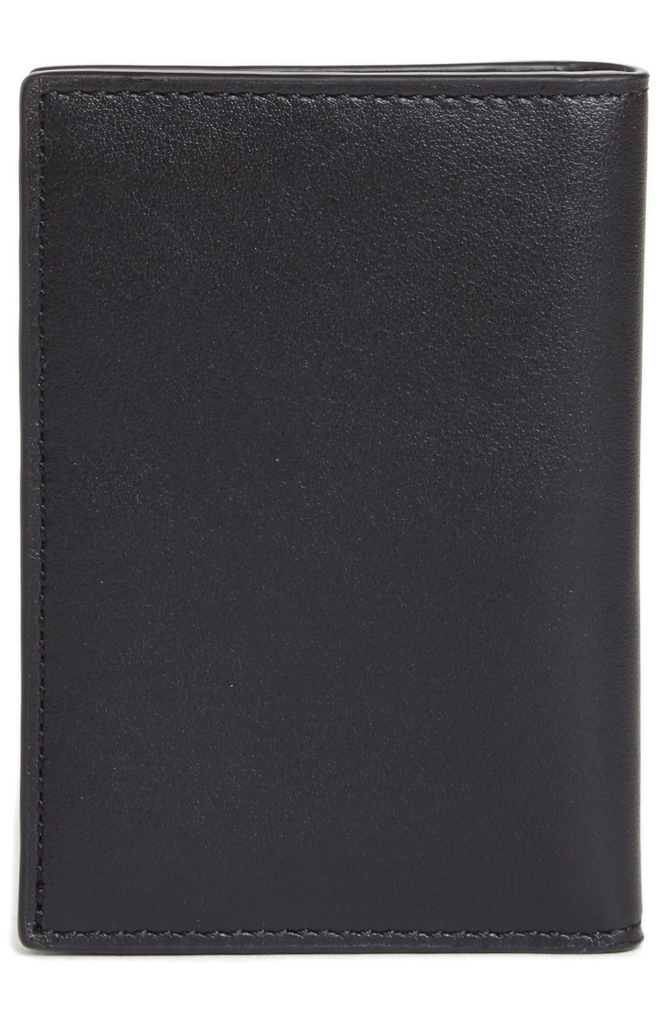 Color Accent Leather Wallet,                             Alternate thumbnail 3, color,                             Black