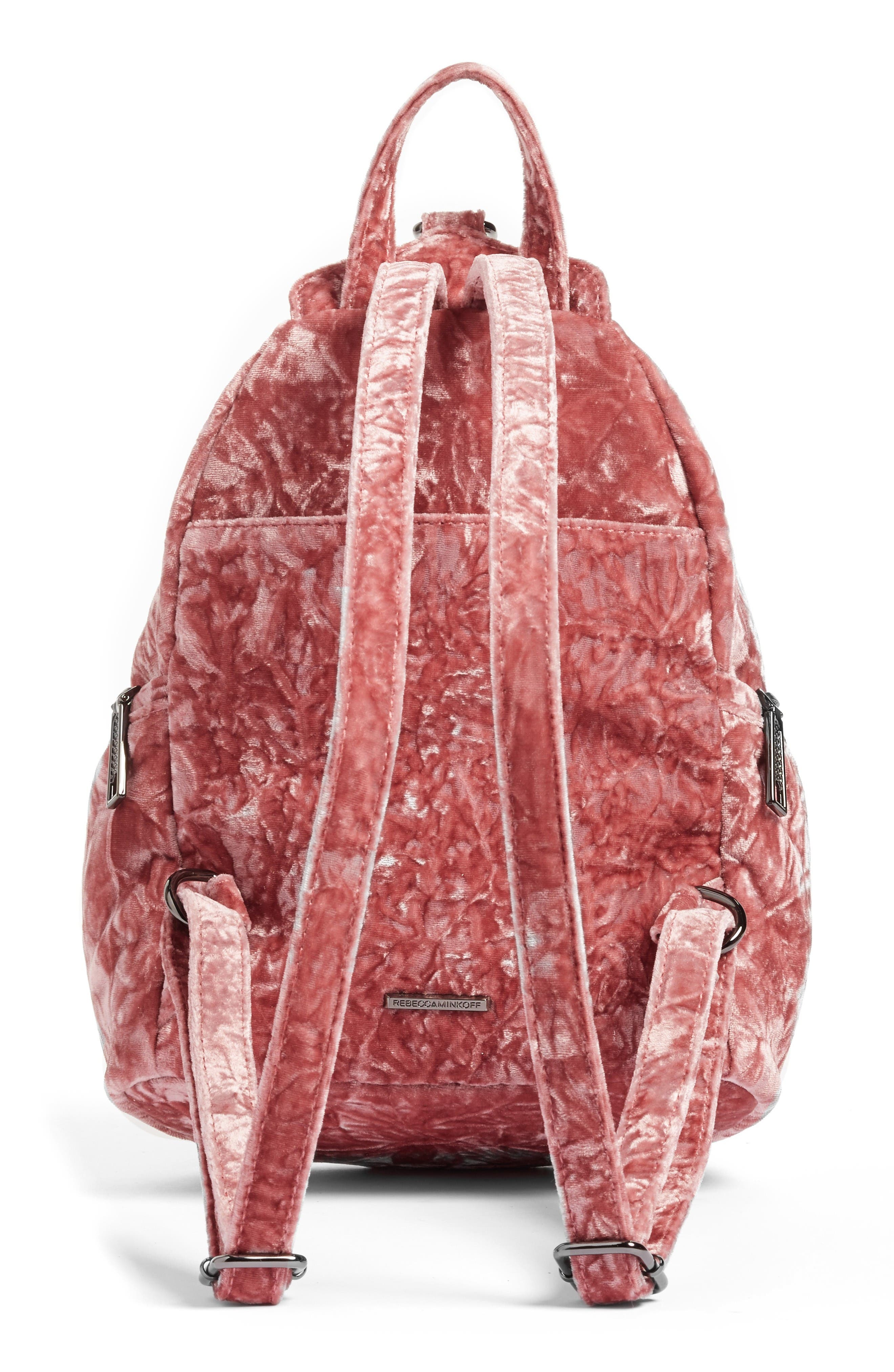 Medium Julian Velvet Backpack,                             Alternate thumbnail 4, color,                             Pink Velvet/ Gunmetal Hardware