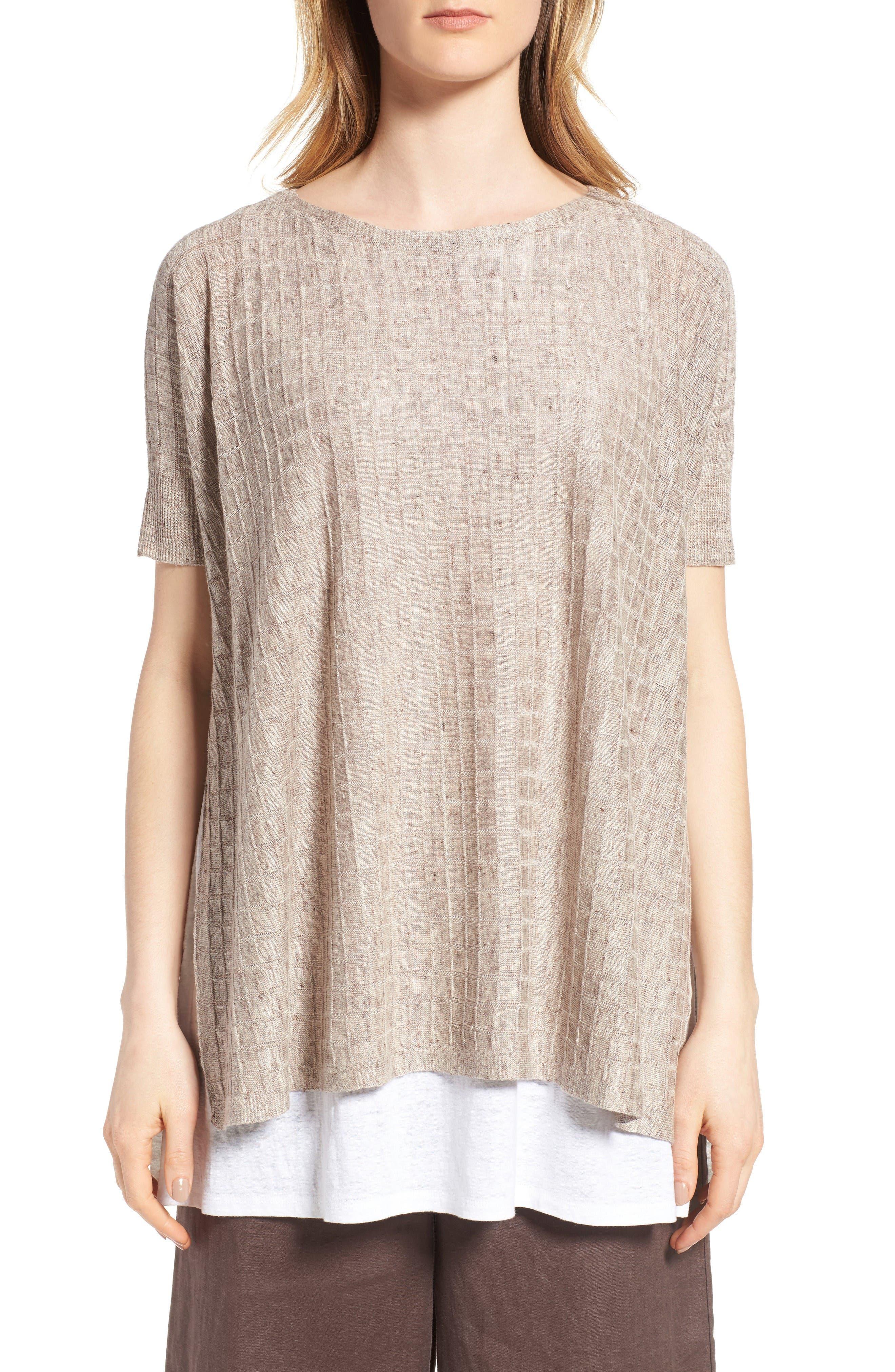 Main Image - Eileen Fisher Linen Side Slit Sweater (Regular & Petite)