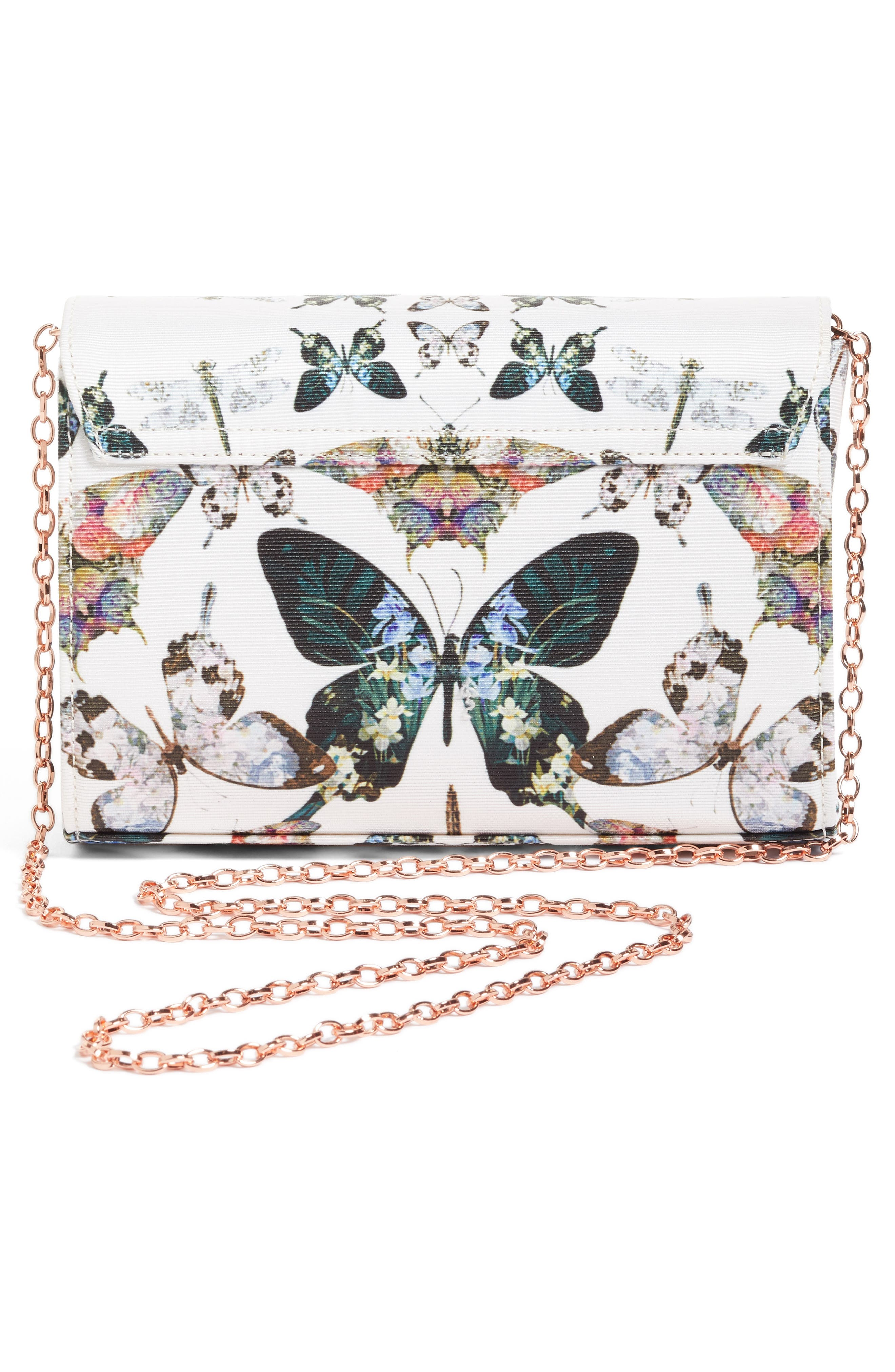 Strisa Butterfly Print Clutch,                             Alternate thumbnail 3, color,                             Cream