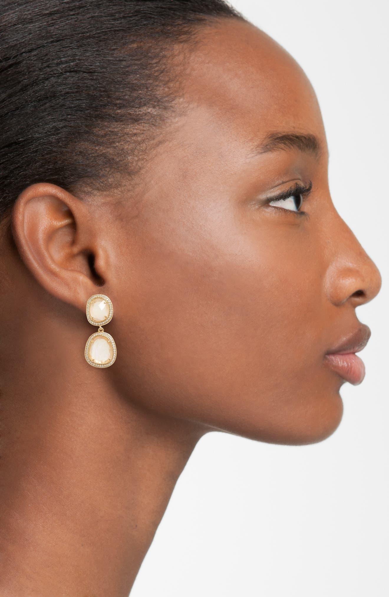 Double Drop Earrings,                             Alternate thumbnail 2, color,                             Moonstone/ Gold