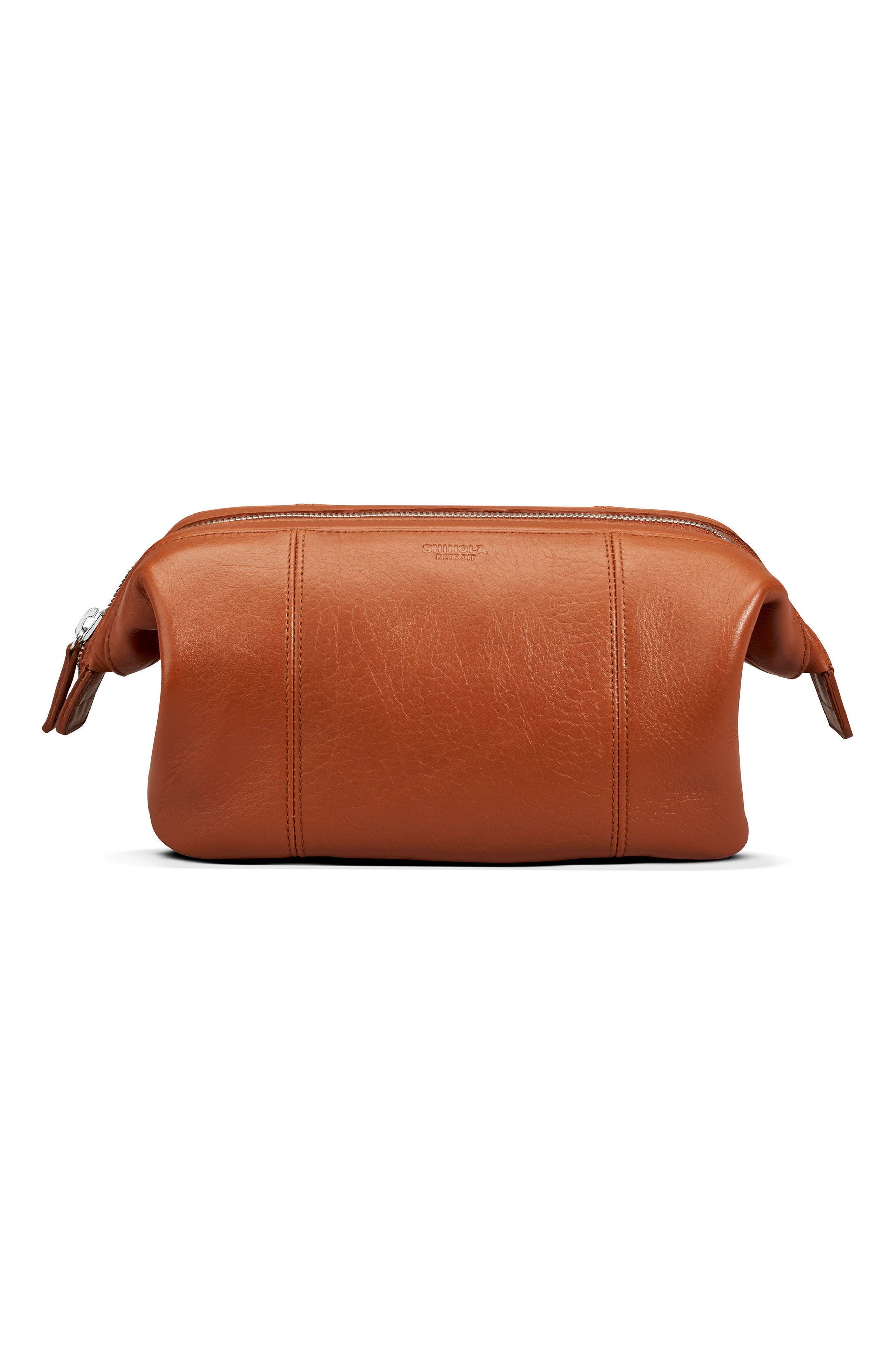 Leather Travel Kit,                         Main,                         color, Bourbon