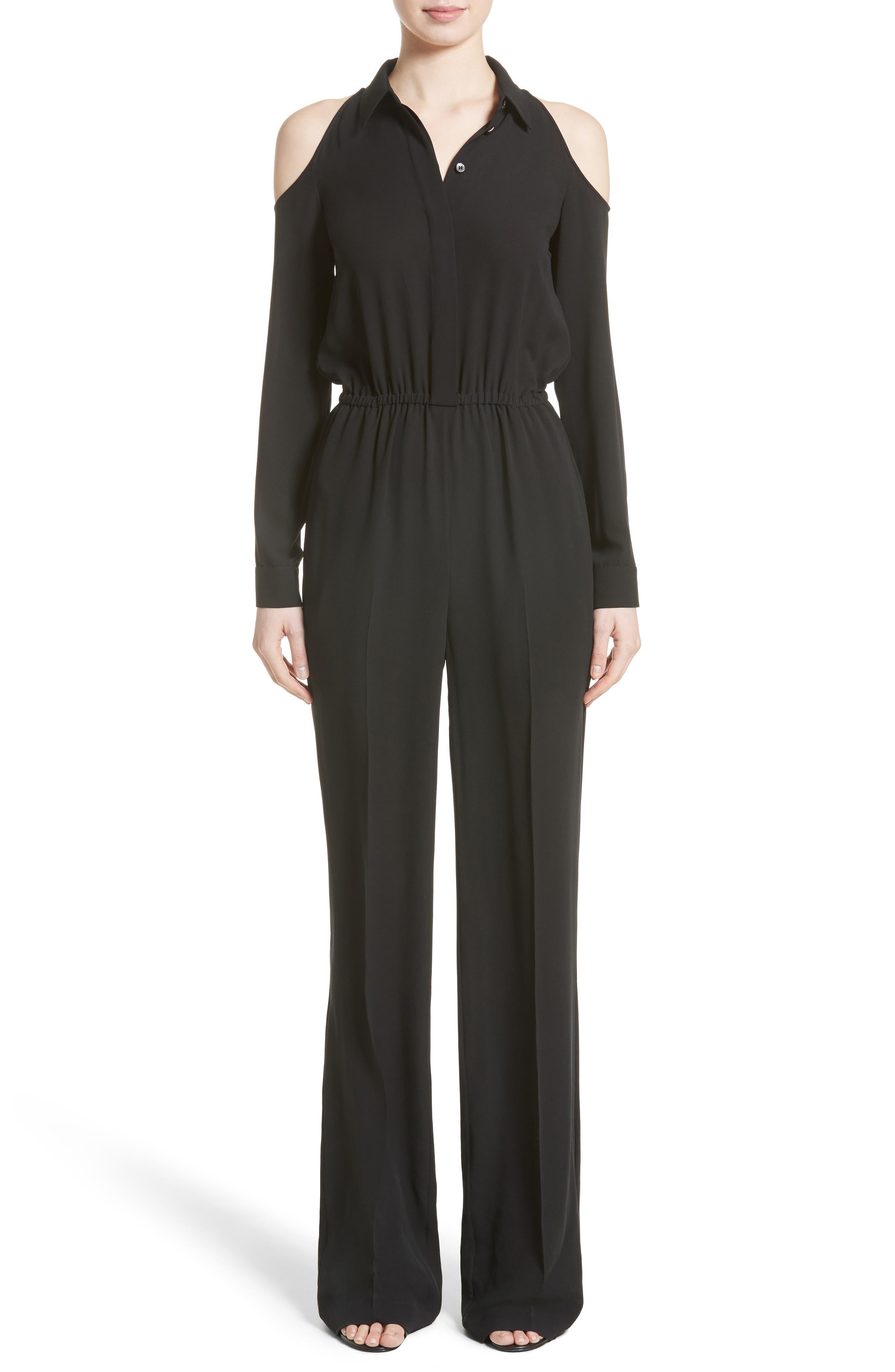 Michael Kors Silk Georgette Cold Shoulder Jumpsuit