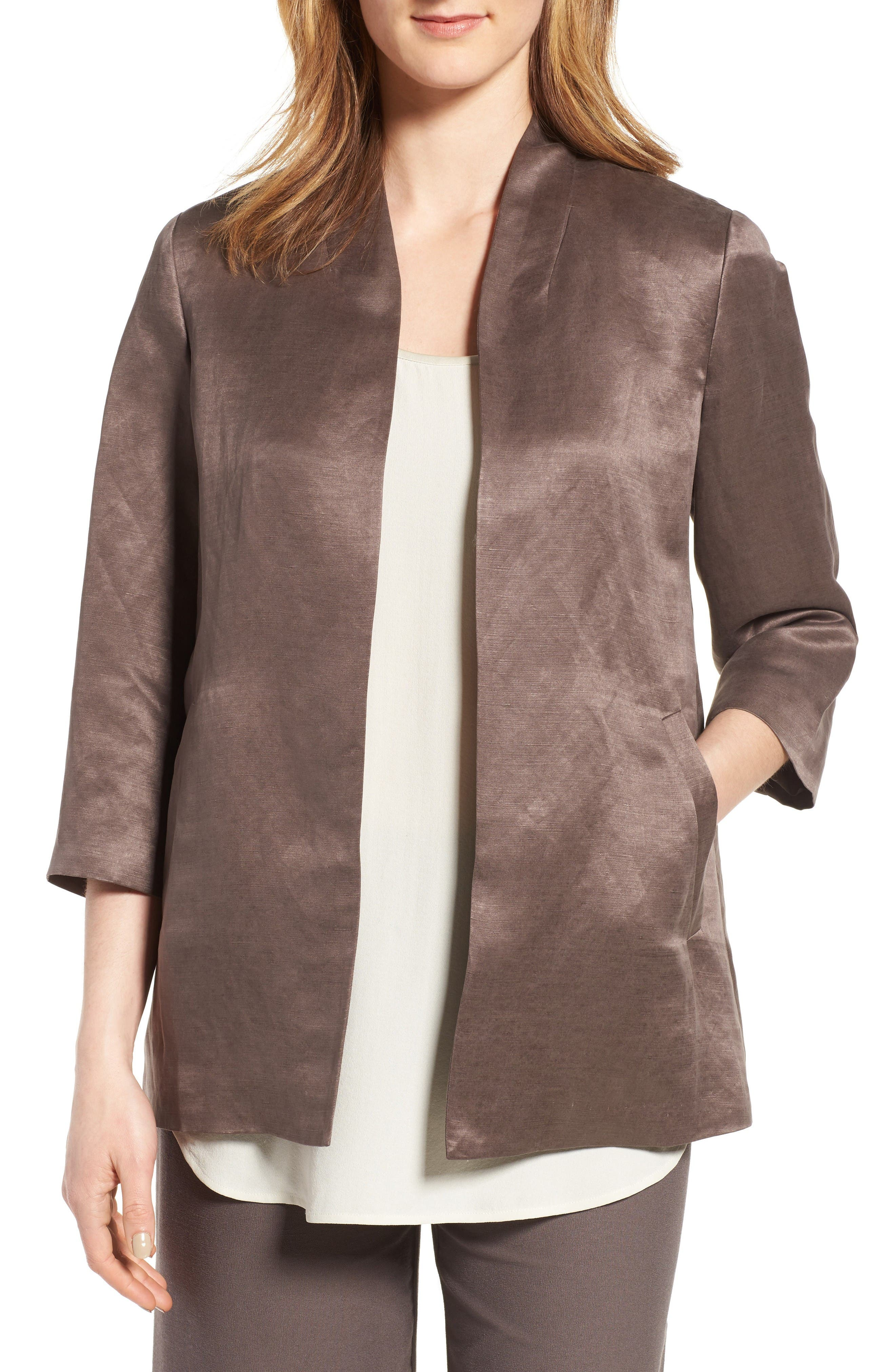 Organic Linen & Silk Jacket,                         Main,                         color, Cobblestone