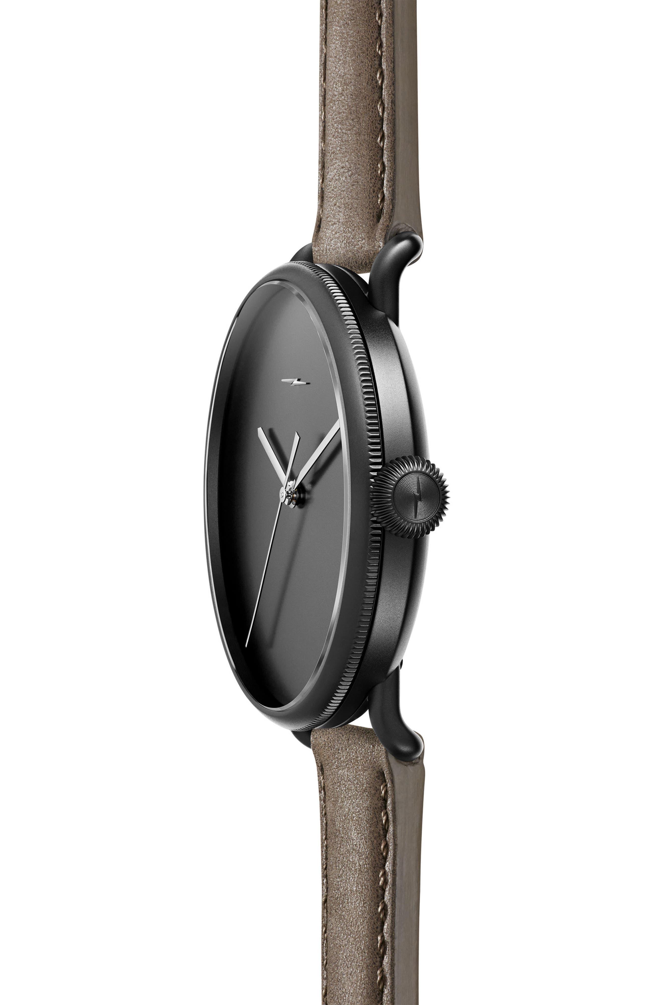 Bolt Leather Strap Watch, 42mm,                             Alternate thumbnail 3, color,                             Gray/ Black Sunray/ Black
