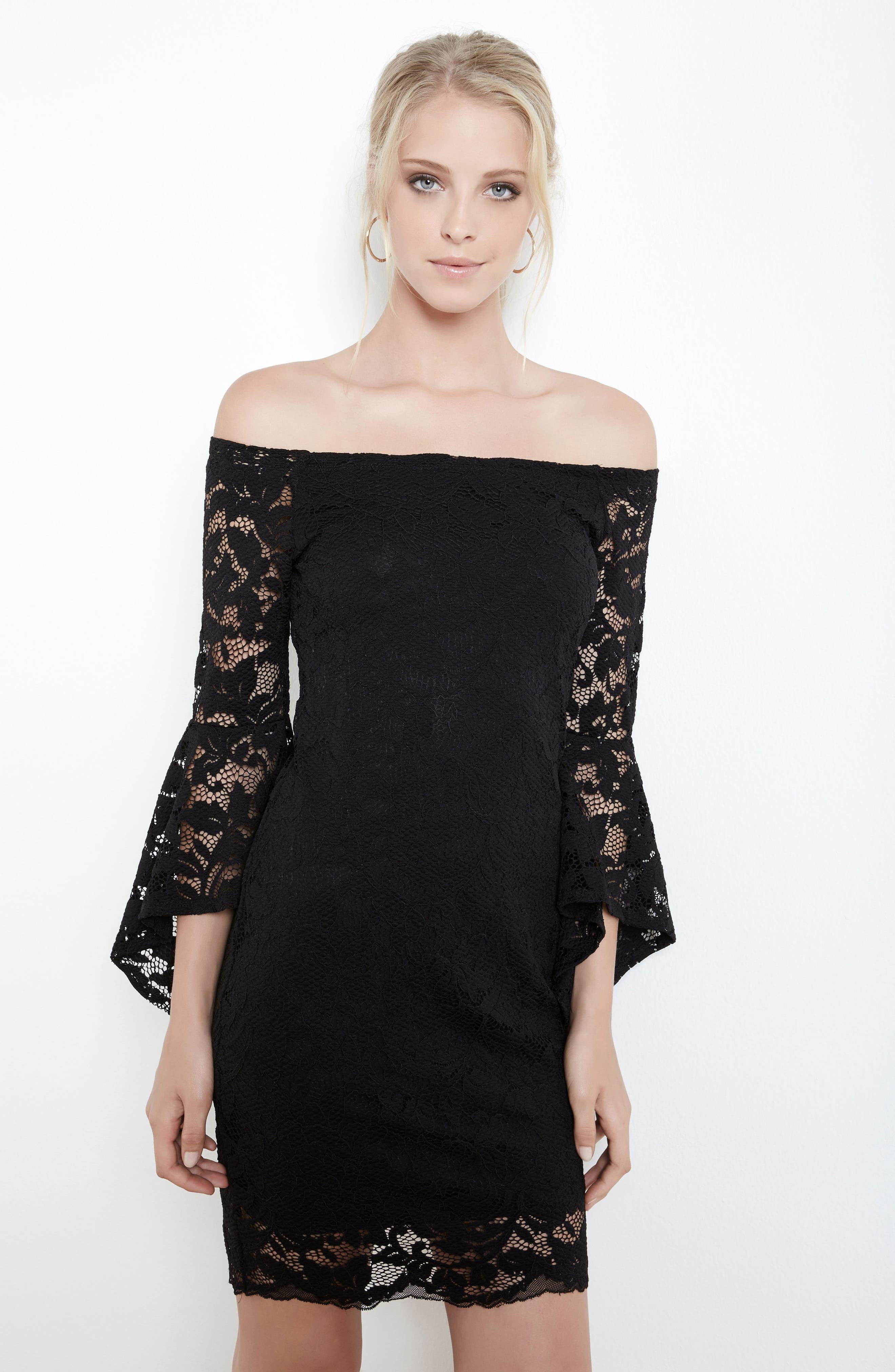 Alternate Image 2  - Karen Kane Samantha Lace Off the Shoulder Sheath Dress