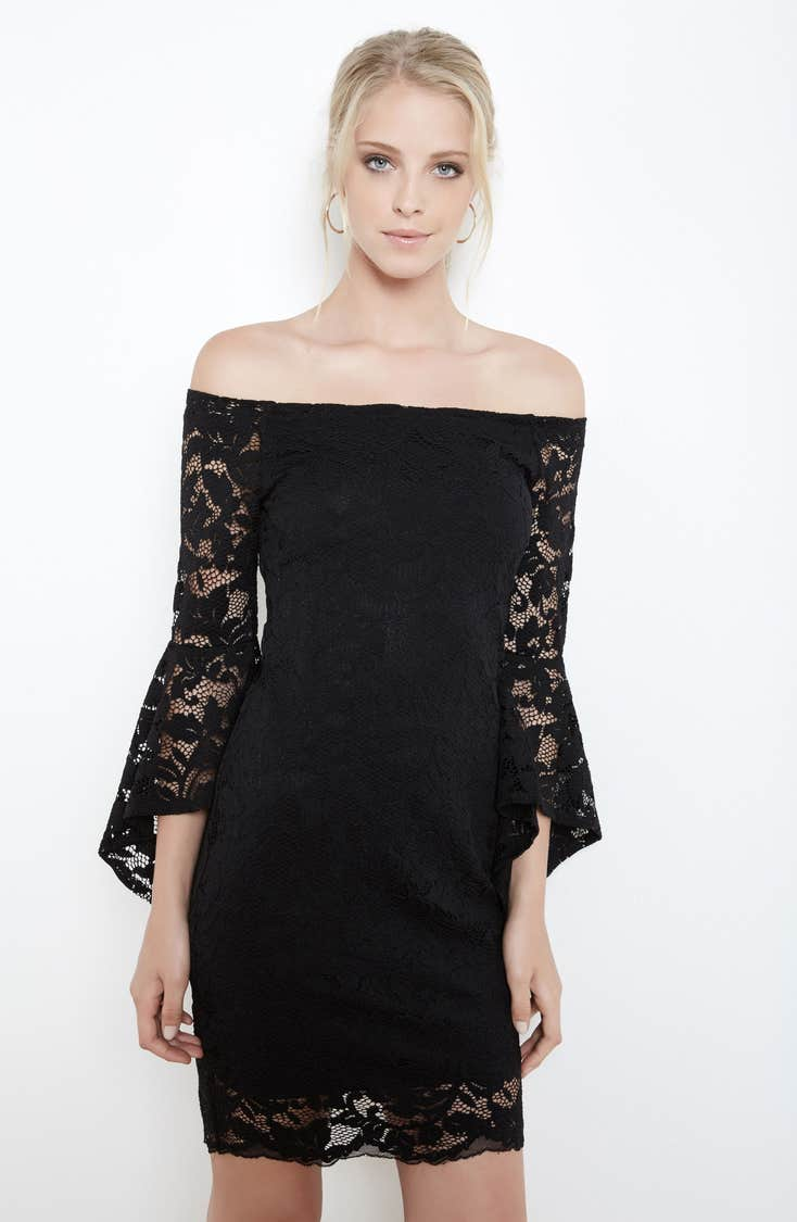 Gorgeous lace off the shoulder dress