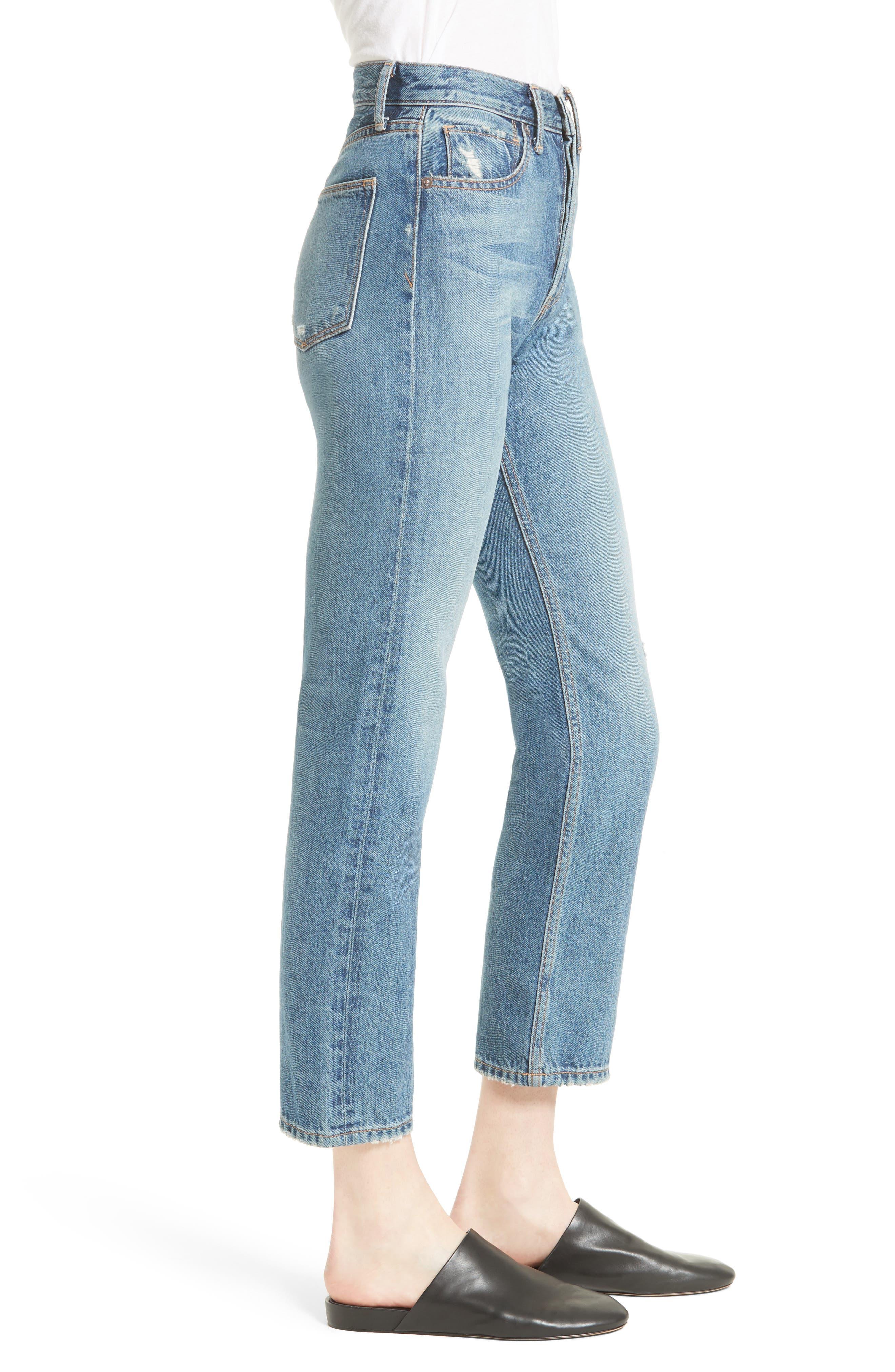 High Waist Vintage Straight Leg Jeans,                             Alternate thumbnail 3, color,                             Medium Wash