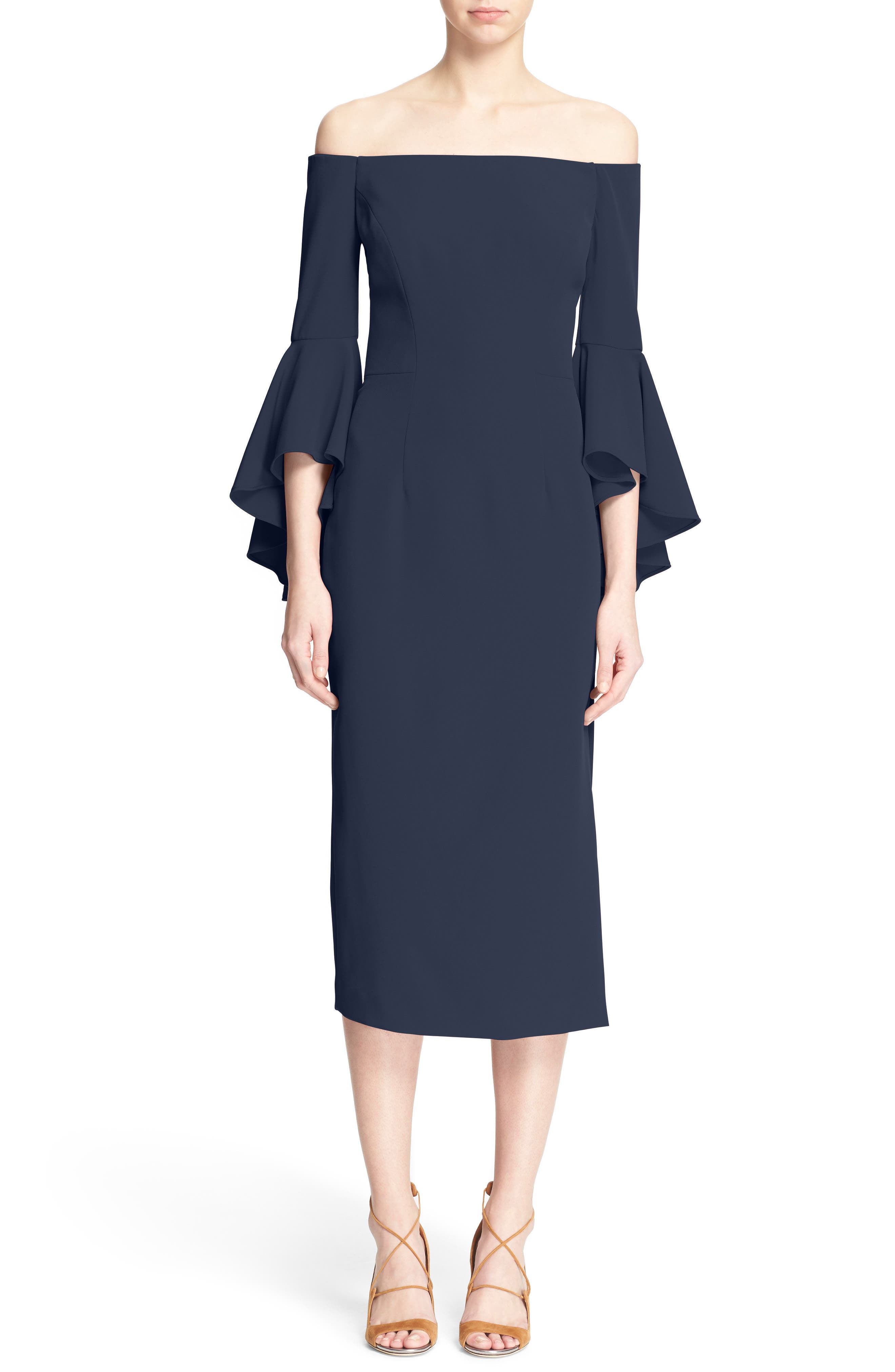 Main Image - Milly Selena Off the Shoulder Midi Dress
