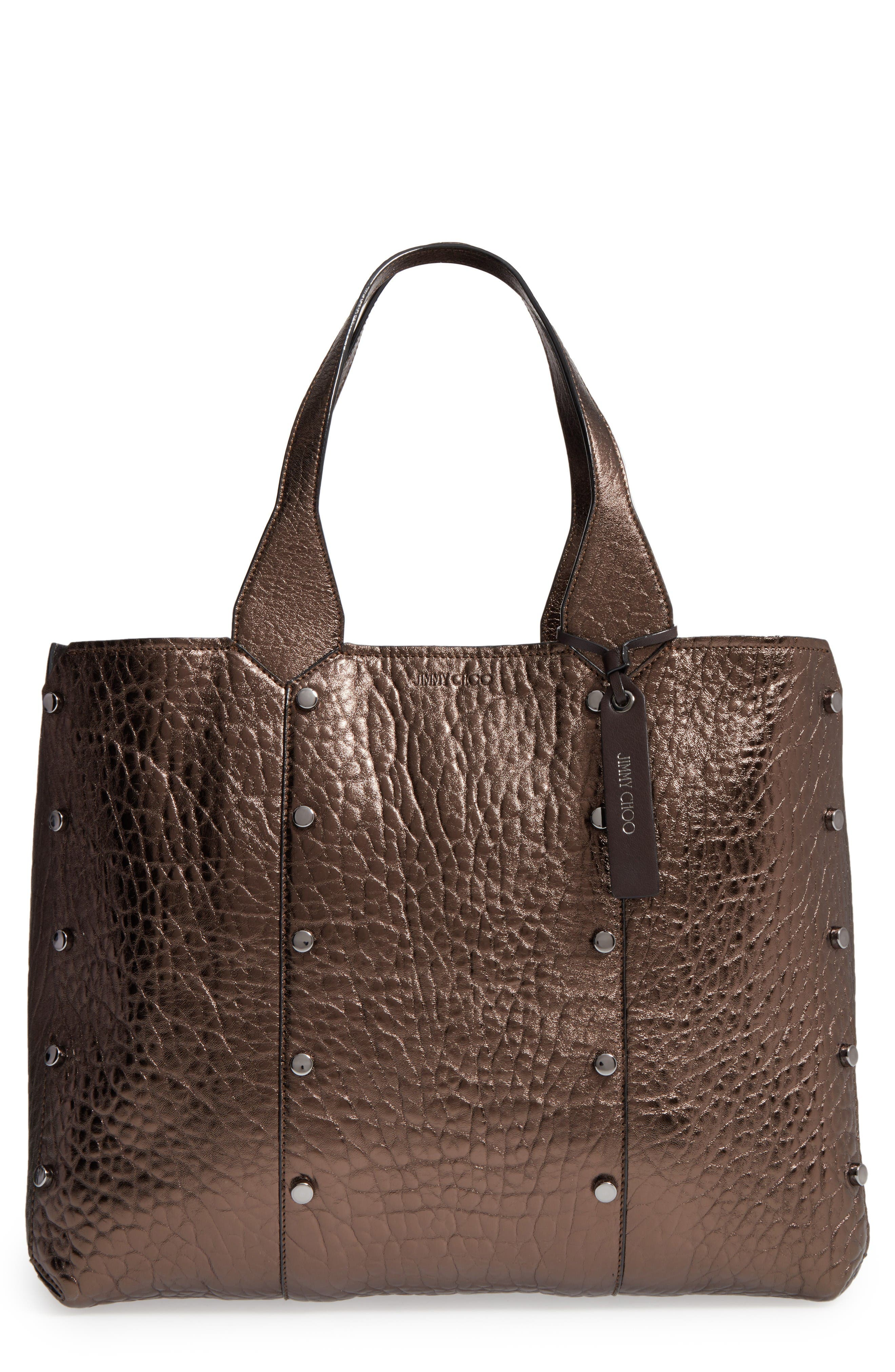 Main Image - Jimmy Choo Lockett Metallic Leather Shopper