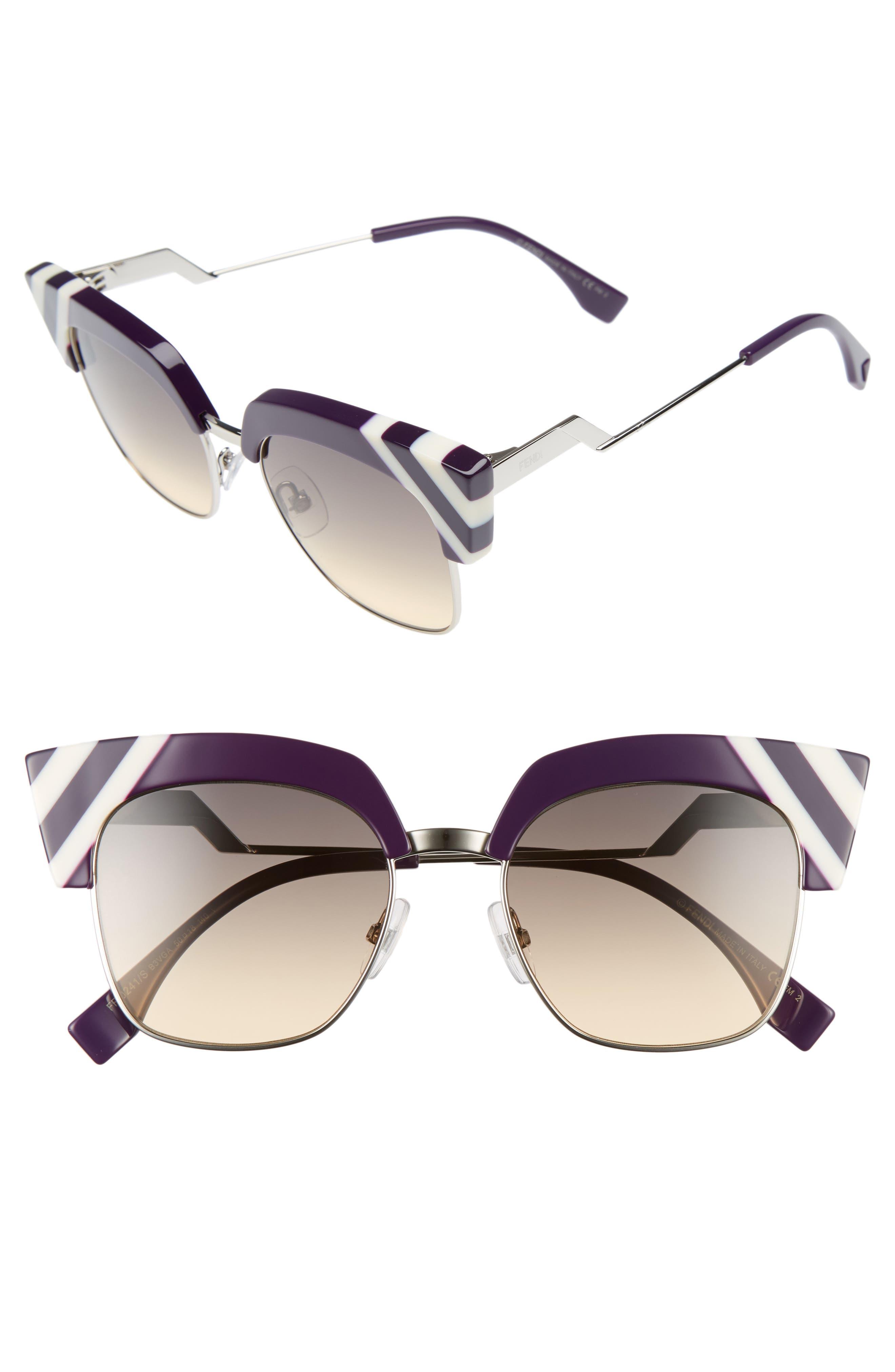 50mm Cat Eye Sunglasses,                             Main thumbnail 1, color,                             Violet