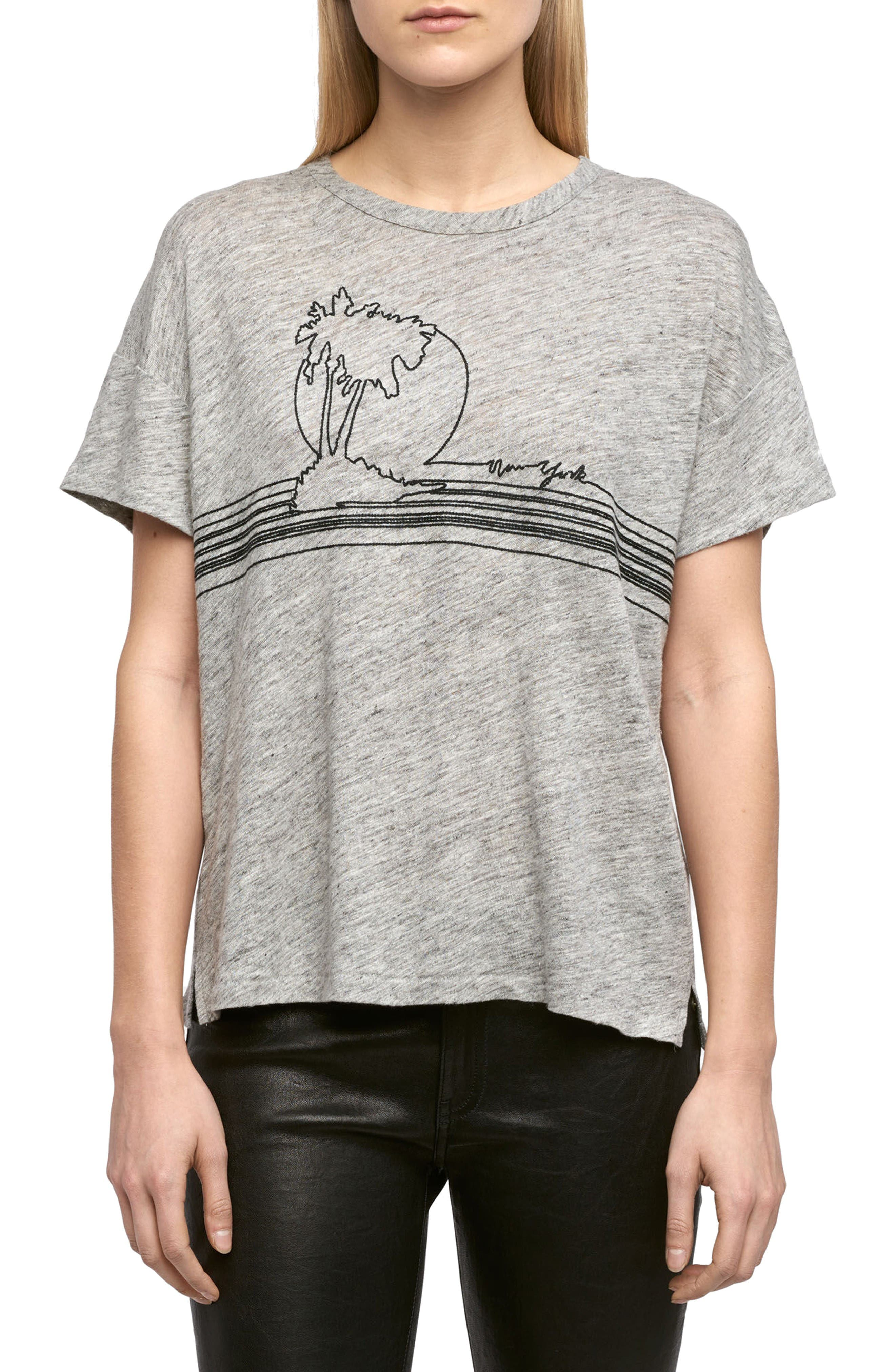 RAG & BONE/JEAN Palm Embroidered Linen Tee