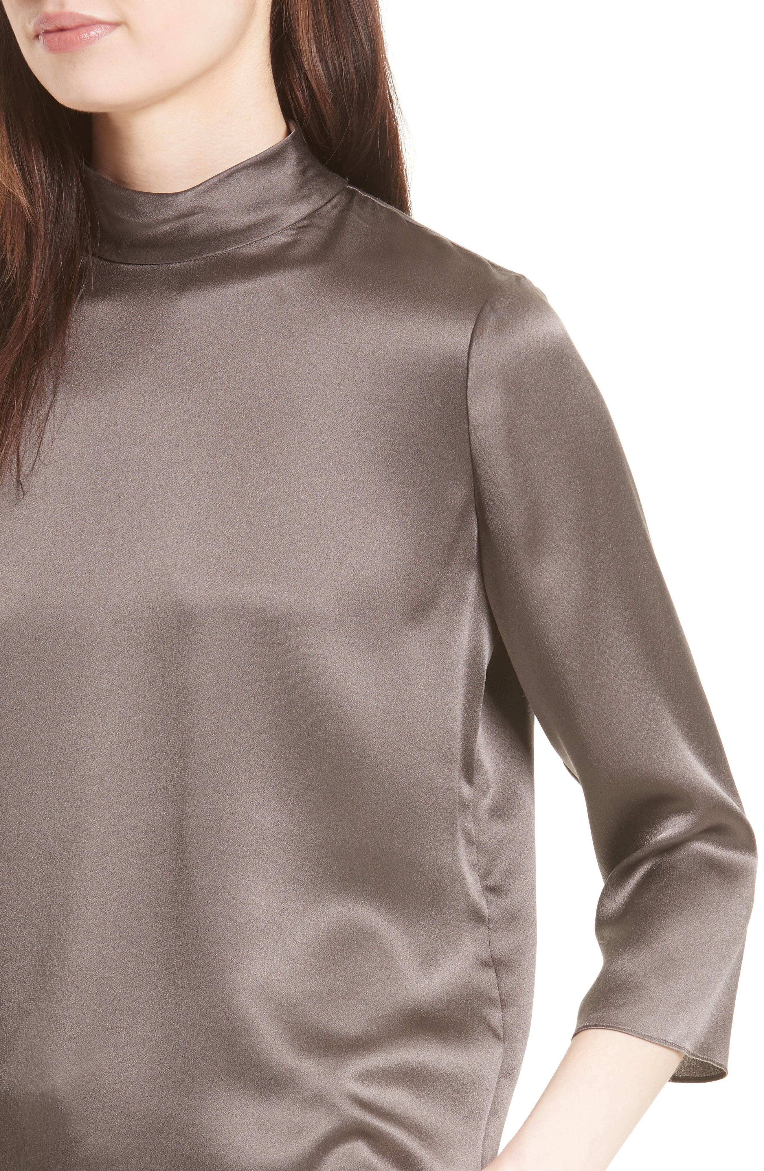 Alternate Image 4  - Vince Mock Neck Silk Satin Blouse