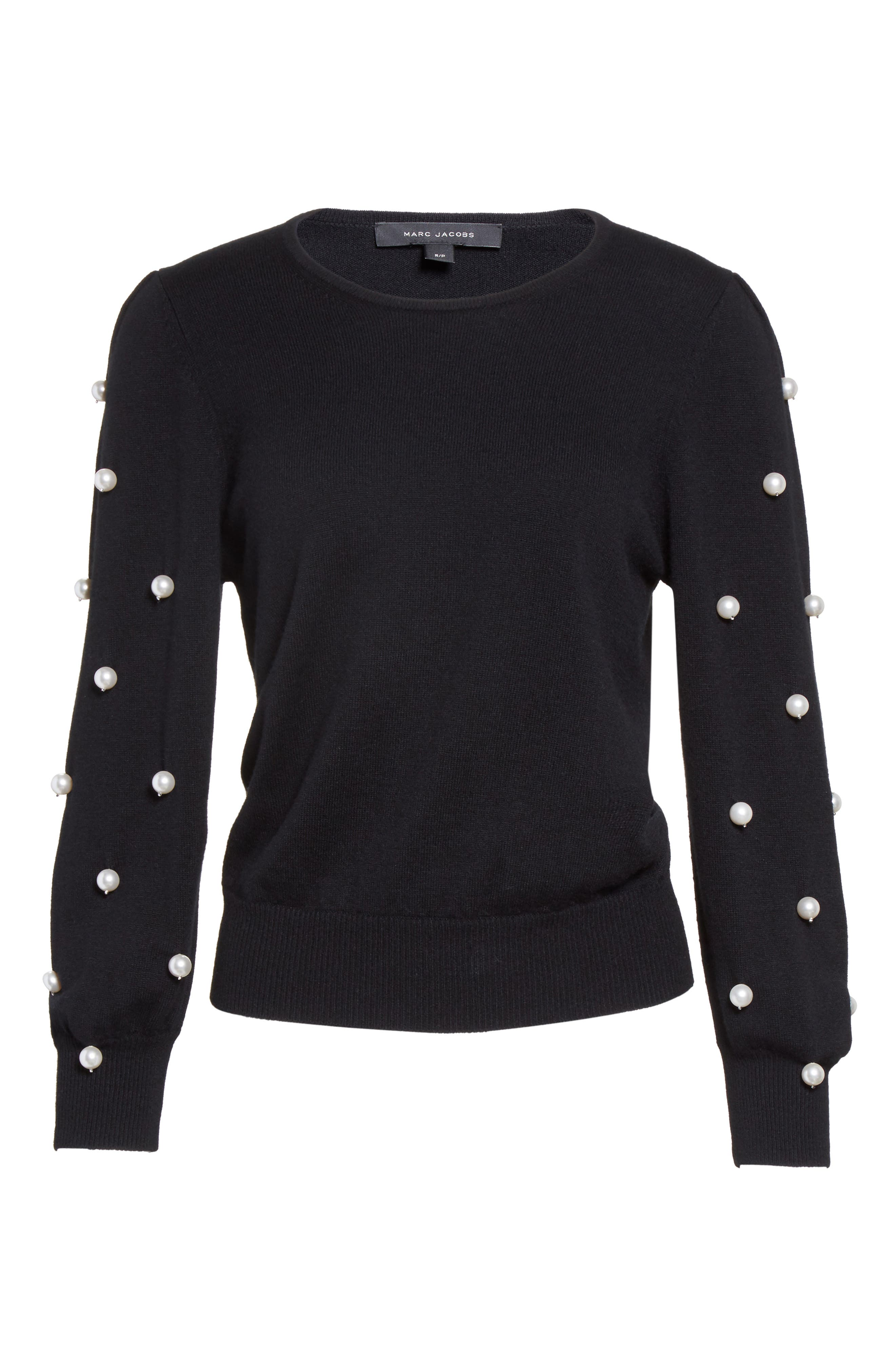 Alternate Image 4  - MARC JACOBS Imitation Pearl Embellished Wool & Cashmere Sweater