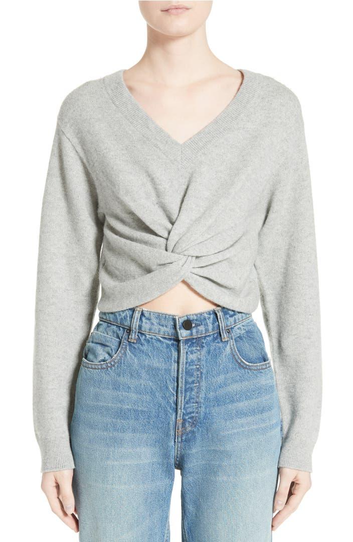 Wool Sweater Grey: T By Alexander Wang Twist Front Wool & Cashmere Sweater