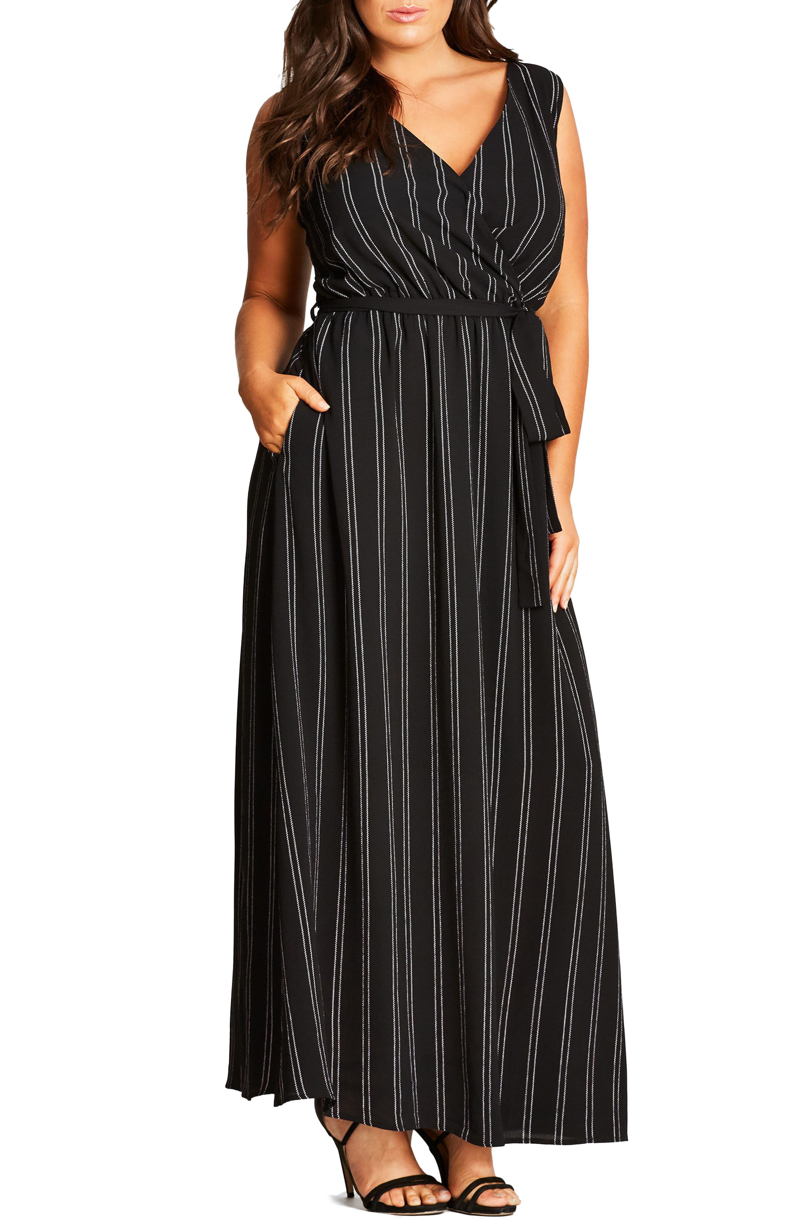 Main Image - City Chic Pin Stripe Maxi Dress (Plus Size)