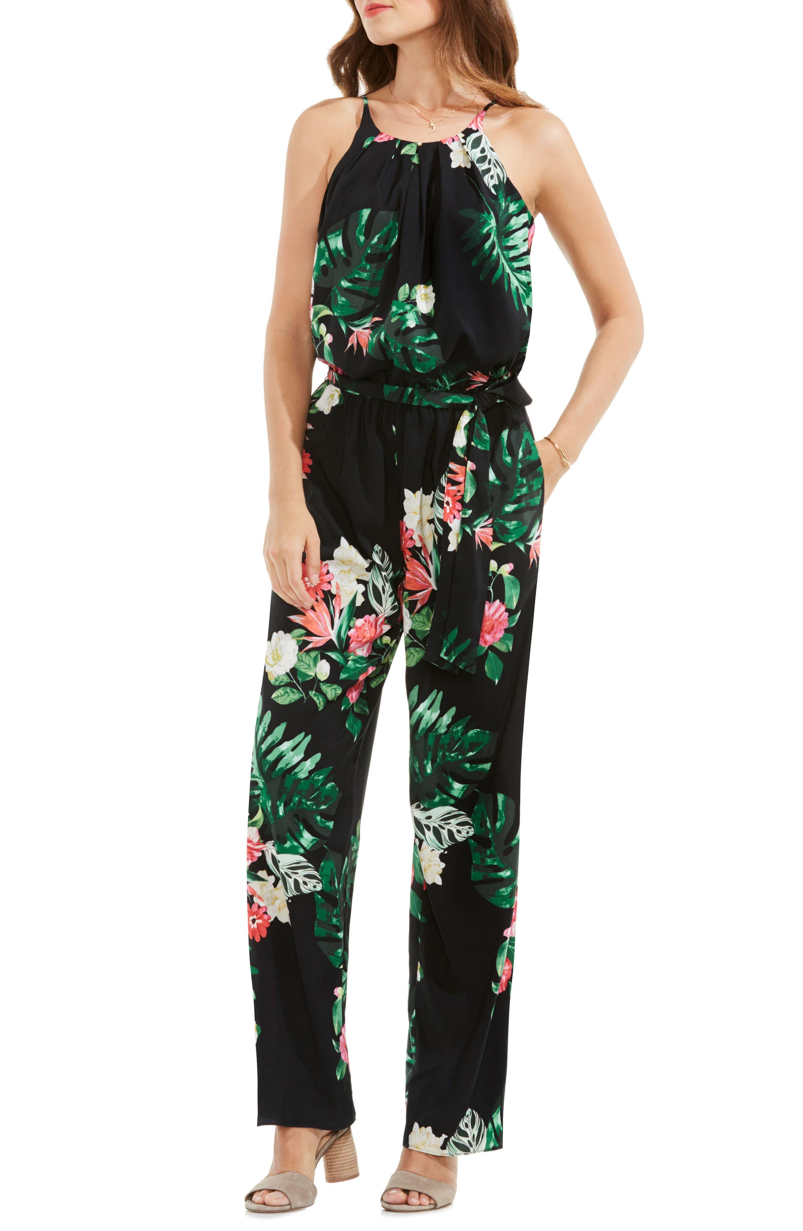 Havana Tropical Tie Waist Jumpsuit,                         Main,                         color, Rich Black