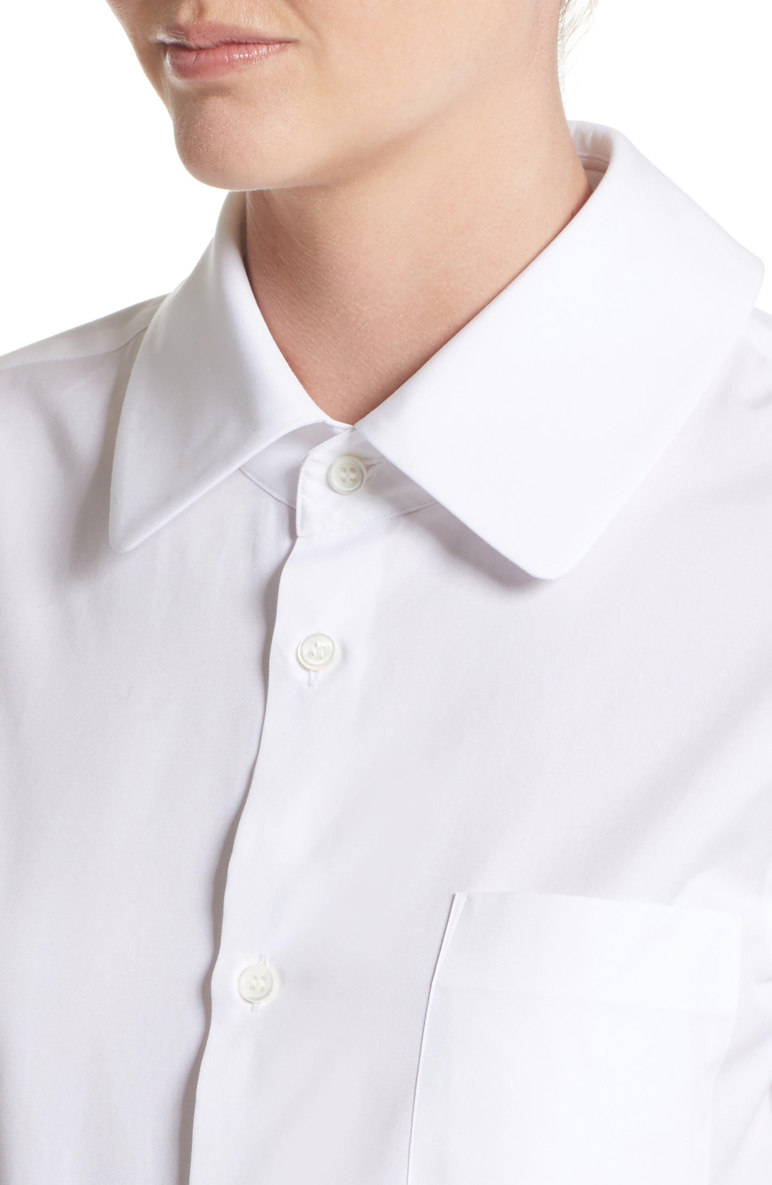 Cotton Broadcloth Blouse,                             Alternate thumbnail 6, color,                             White