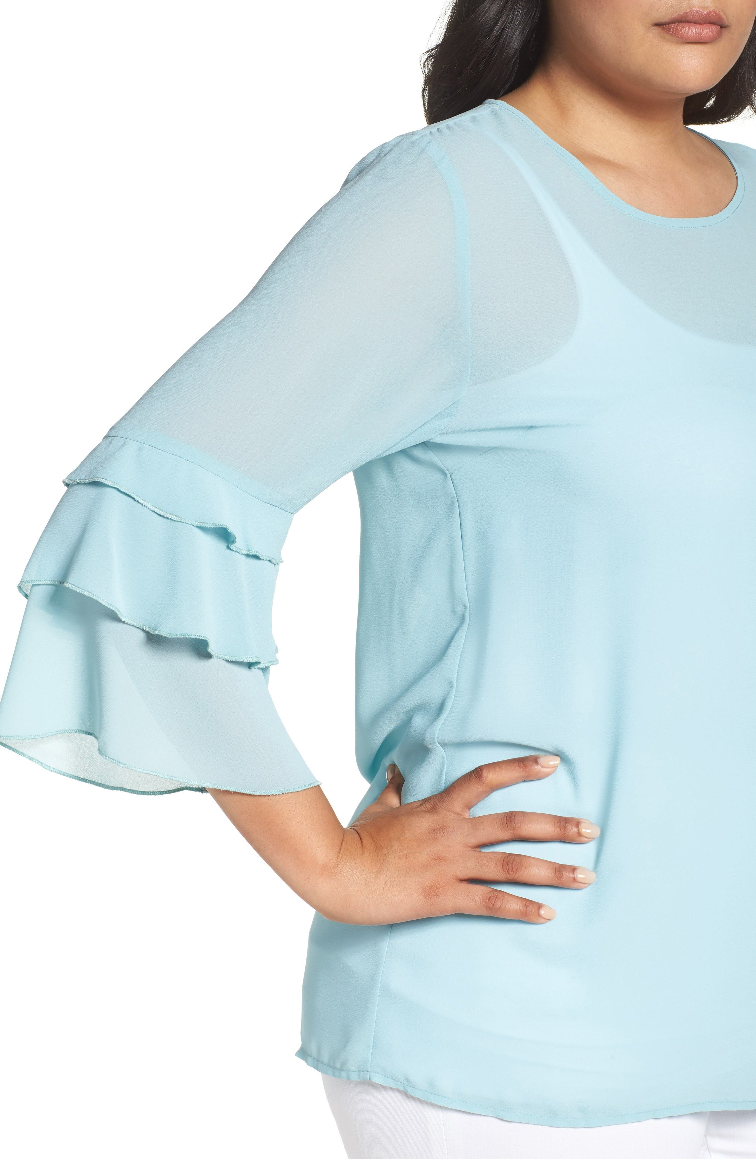Ruffle Sleeve Blouse,                             Alternate thumbnail 4, color,                             Blue