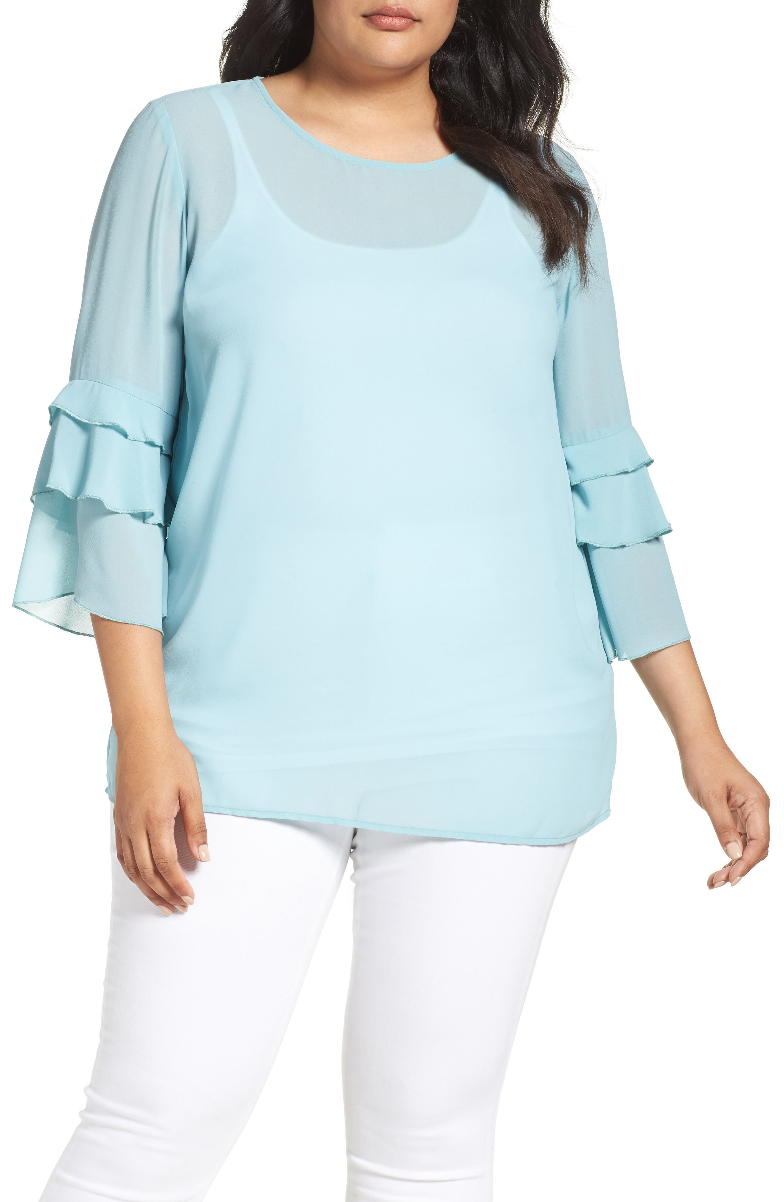 Ruffle Sleeve Blouse,                         Main,                         color, Blue