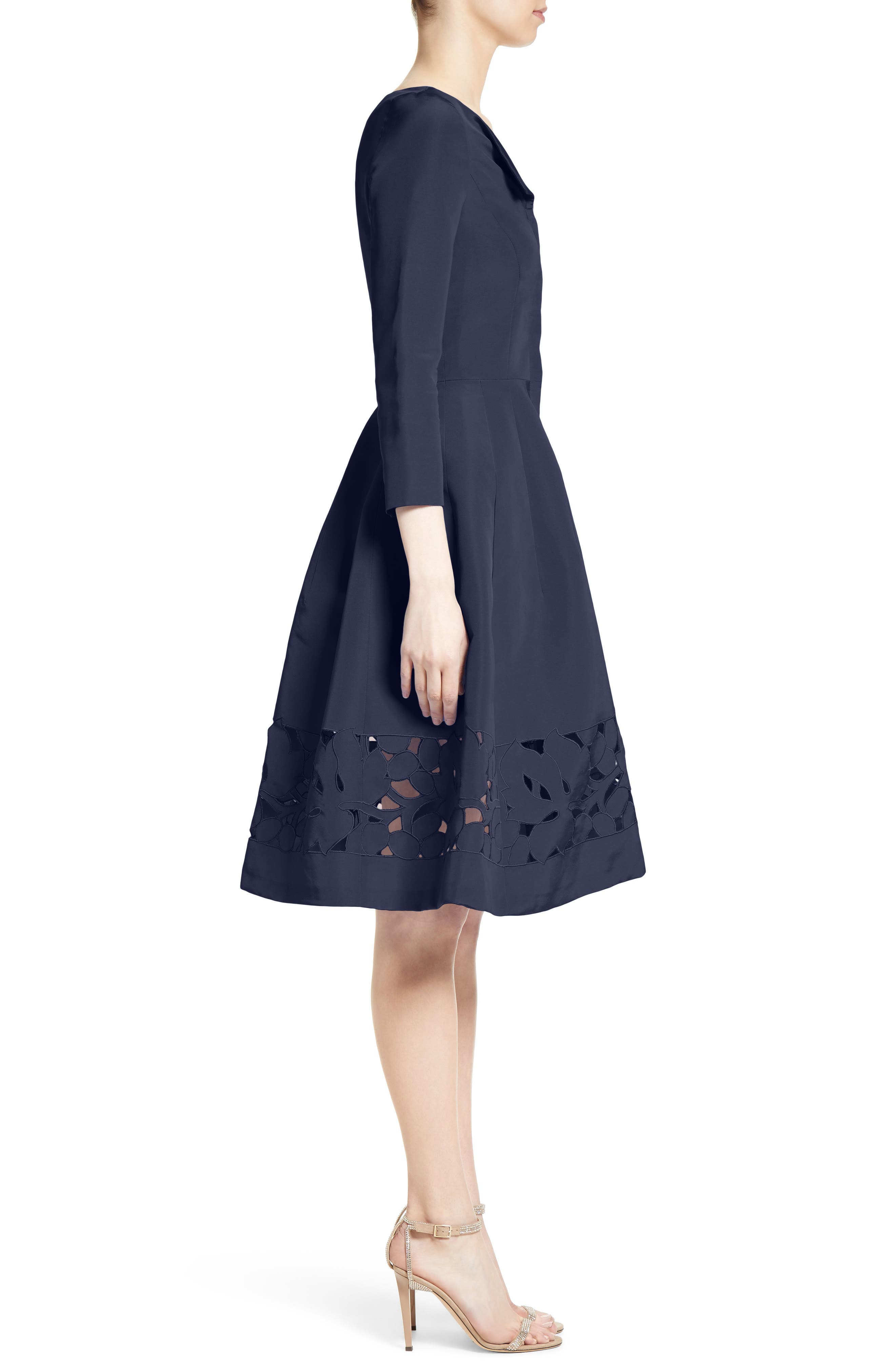 Alternate Image 4  - Carolina Herrerra Laser Cut Eyelet Button Front Dress