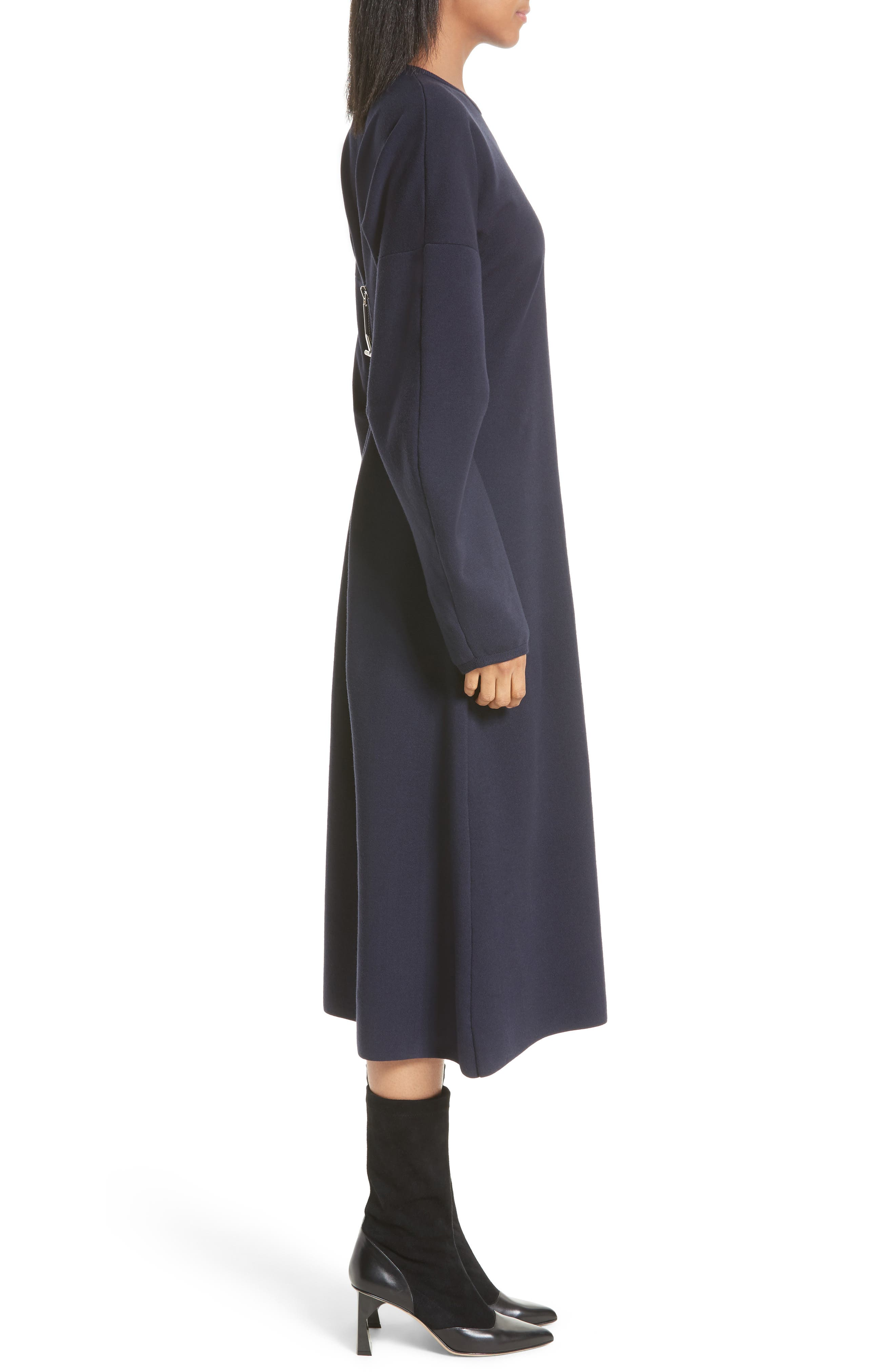 Sculpted Zip Back Midi Dress,                             Alternate thumbnail 3, color,                             Navy