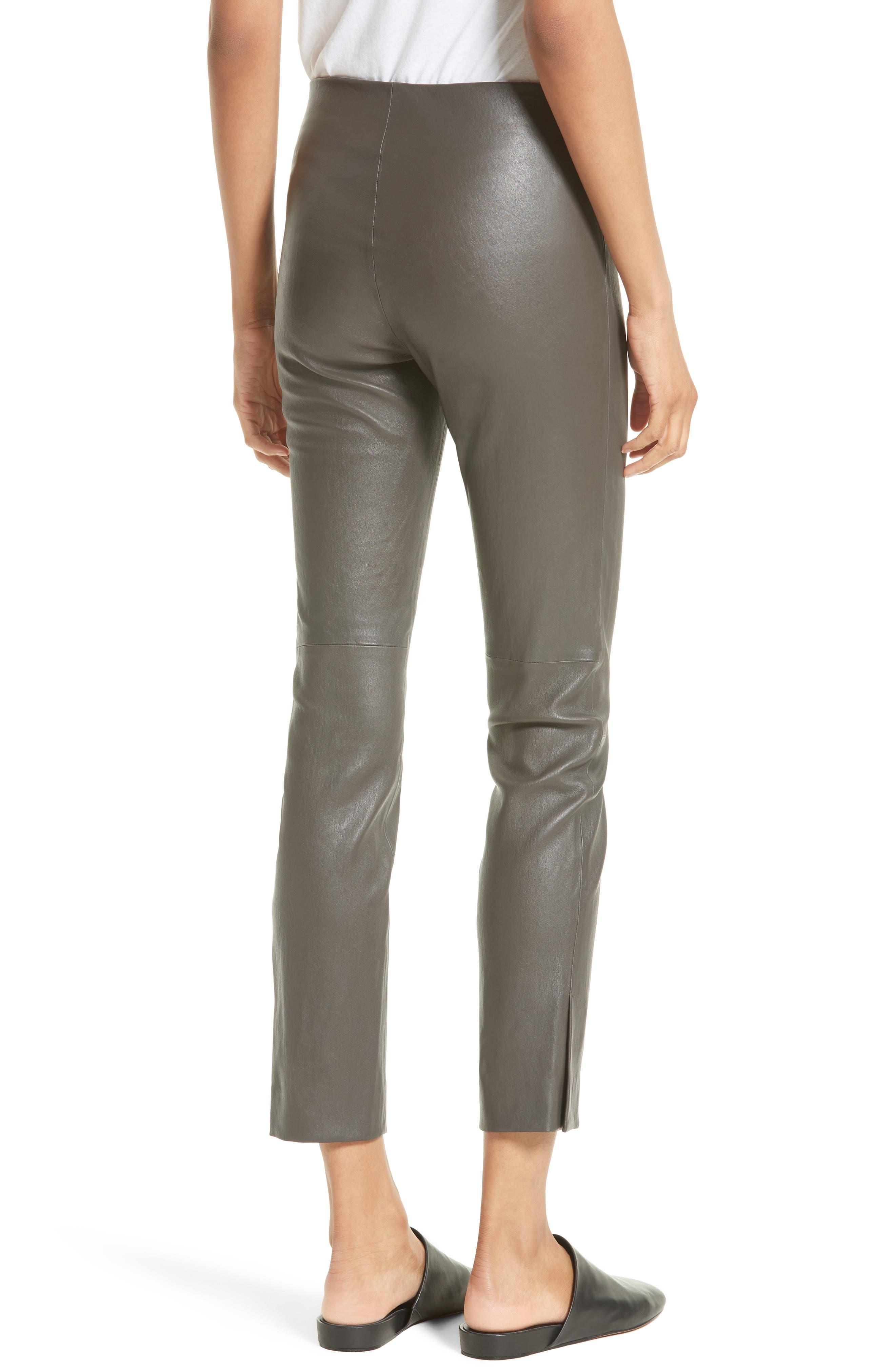 Slit Hem Crop Leather Pants,                             Alternate thumbnail 2, color,                             Graphite