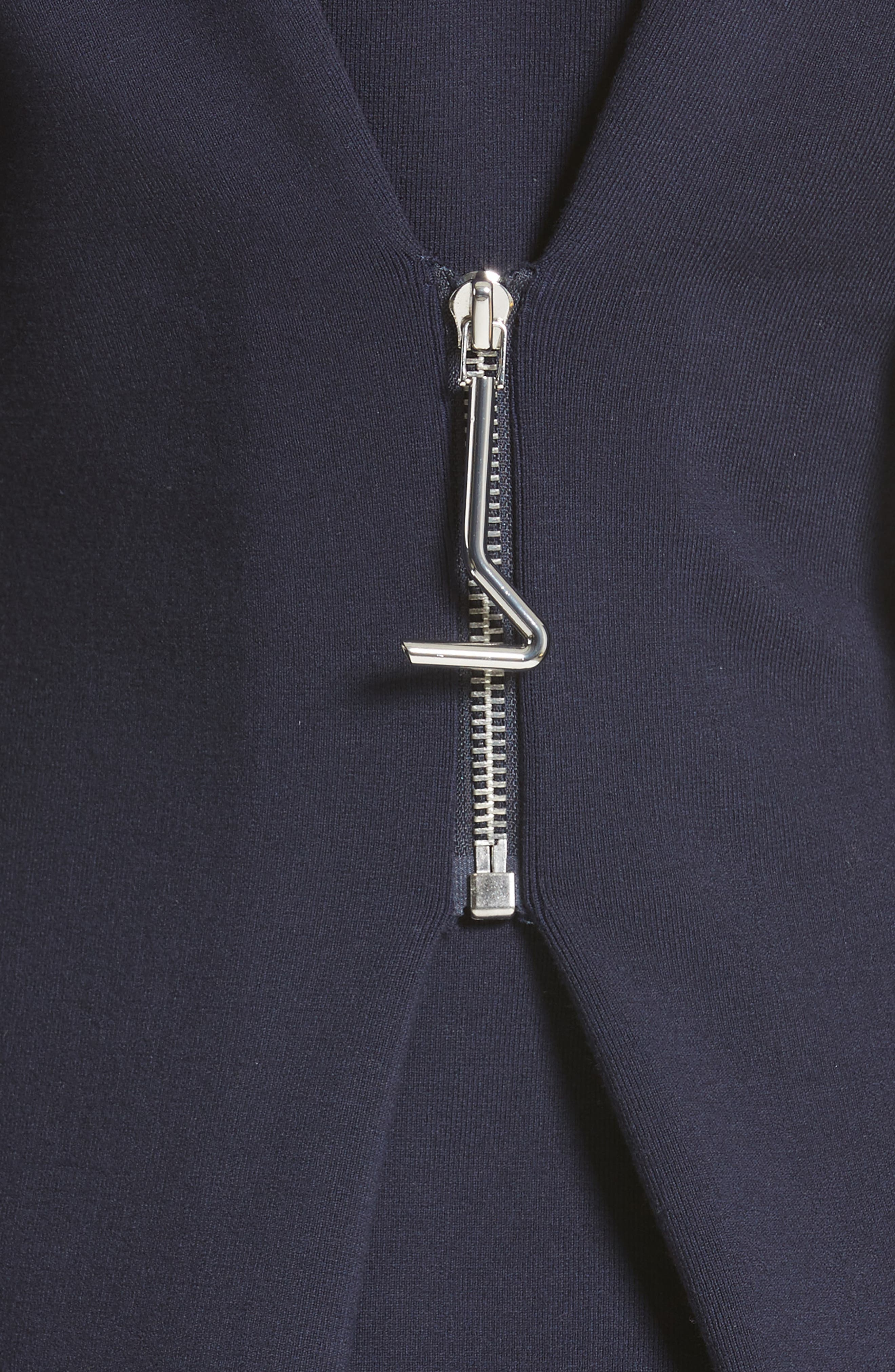 Sculpted Zip Back Midi Dress,                             Alternate thumbnail 5, color,                             Navy