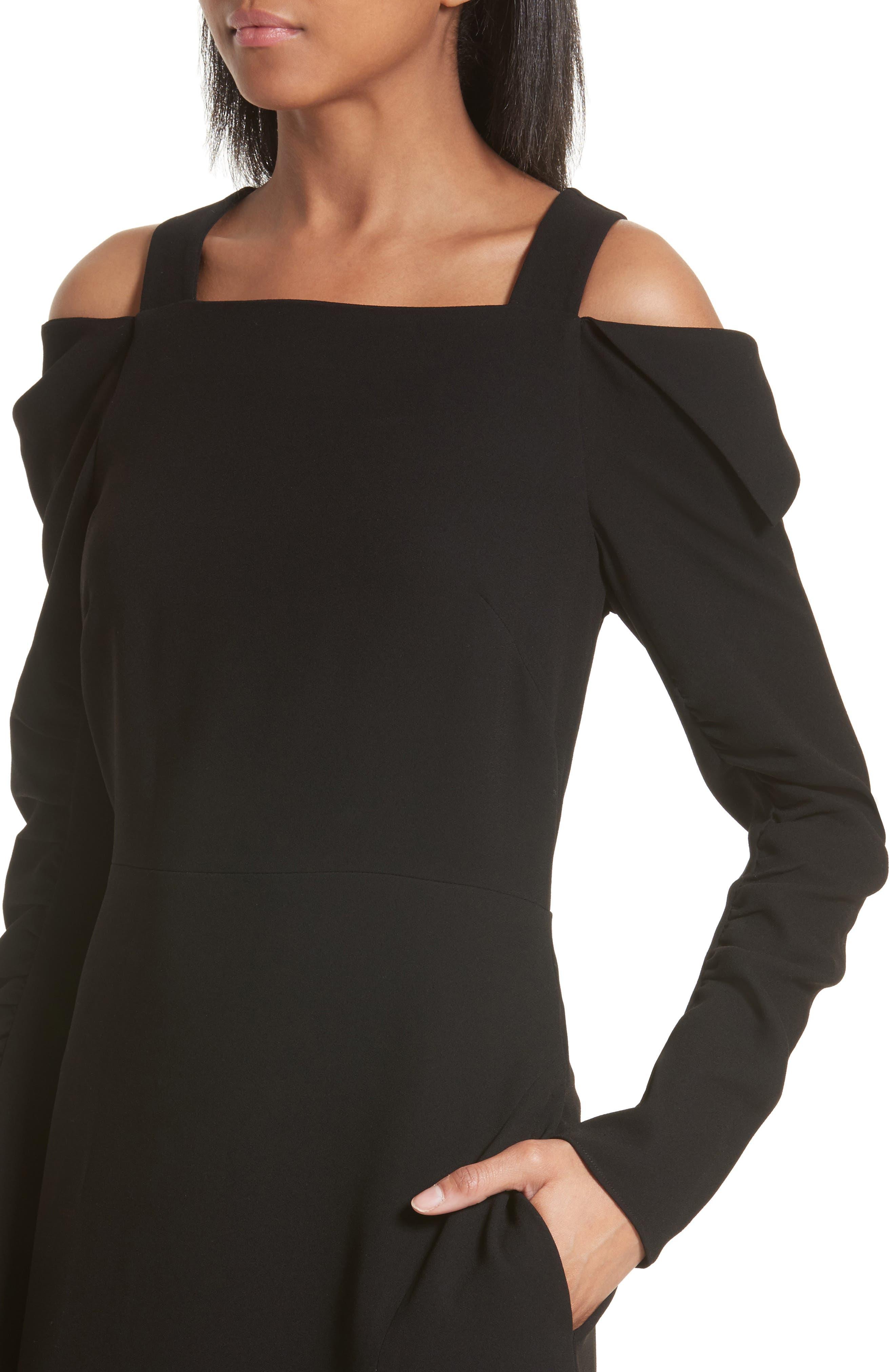 Cold Shoulder Midi Dress,                             Alternate thumbnail 4, color,                             Black