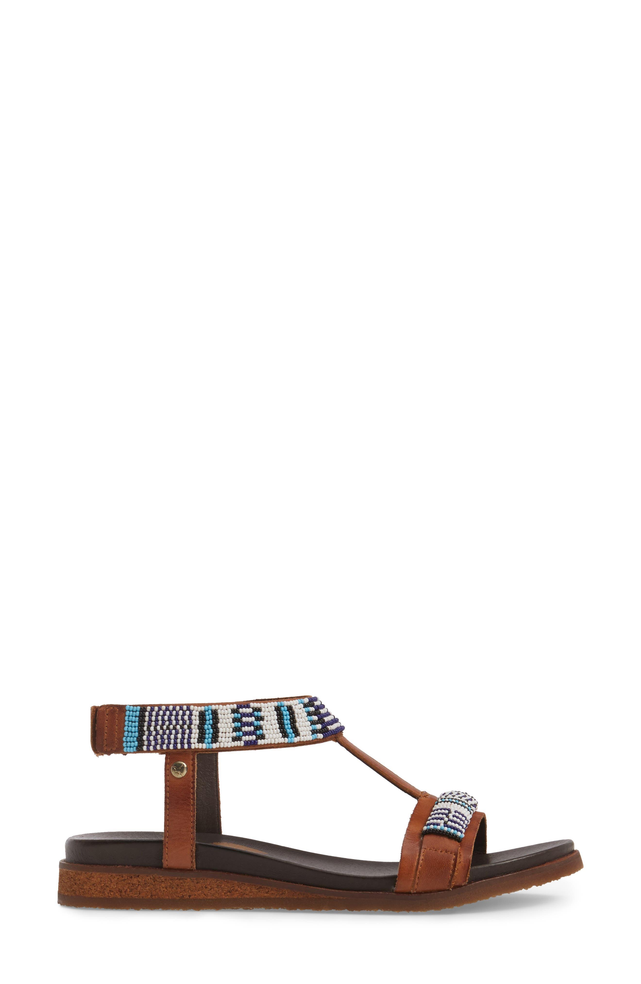 Antillas Beaded Sandal,                             Alternate thumbnail 3, color,                             Brandy Leather