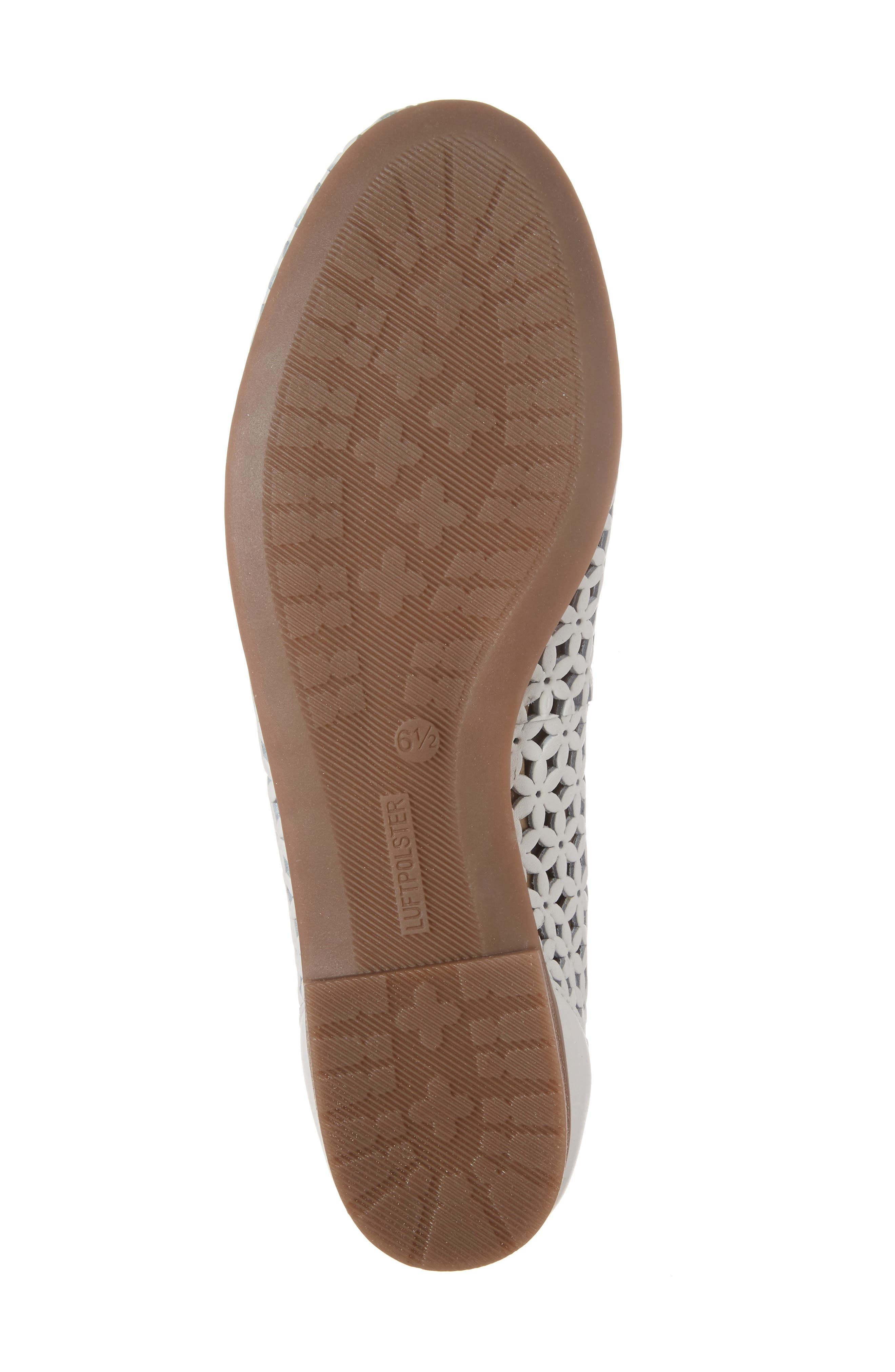 Stephanie Perforated Ballet Flat,                             Alternate thumbnail 6, color,                             White Leather