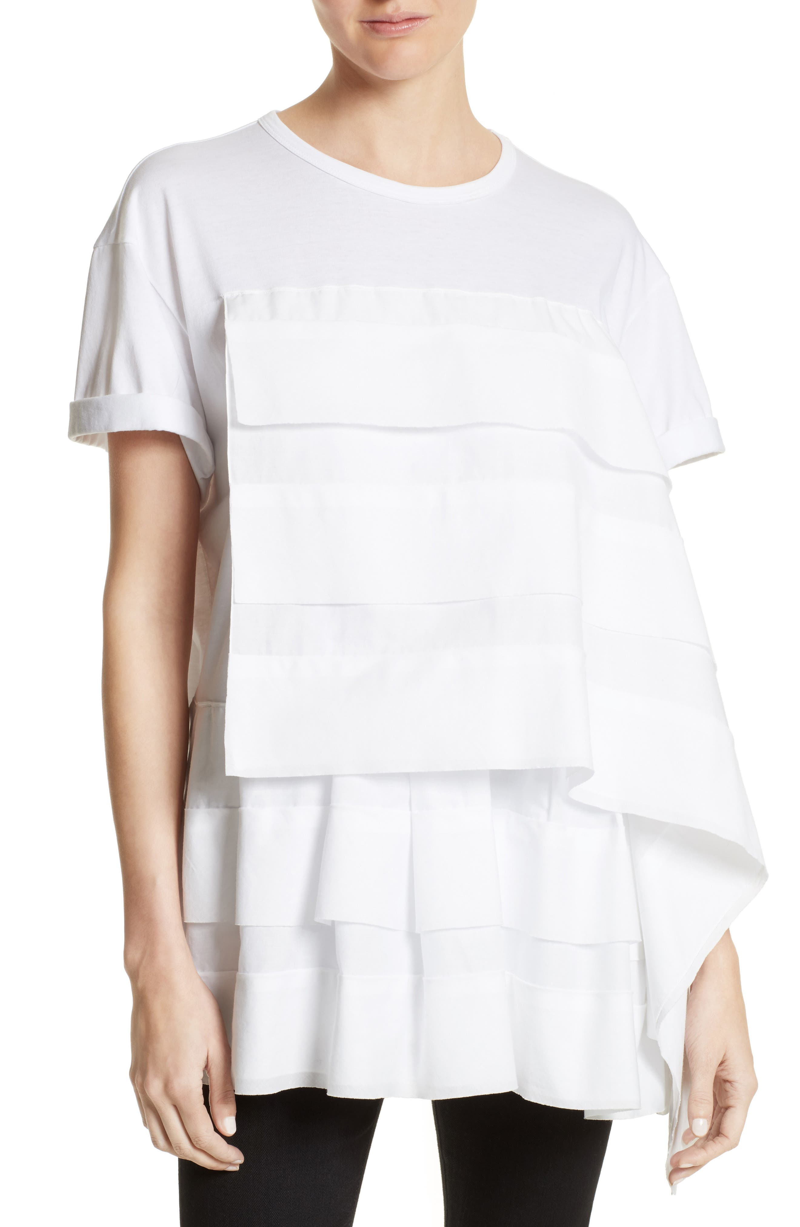 Asymmetrical Ruffle Tee,                             Main thumbnail 1, color,                             White