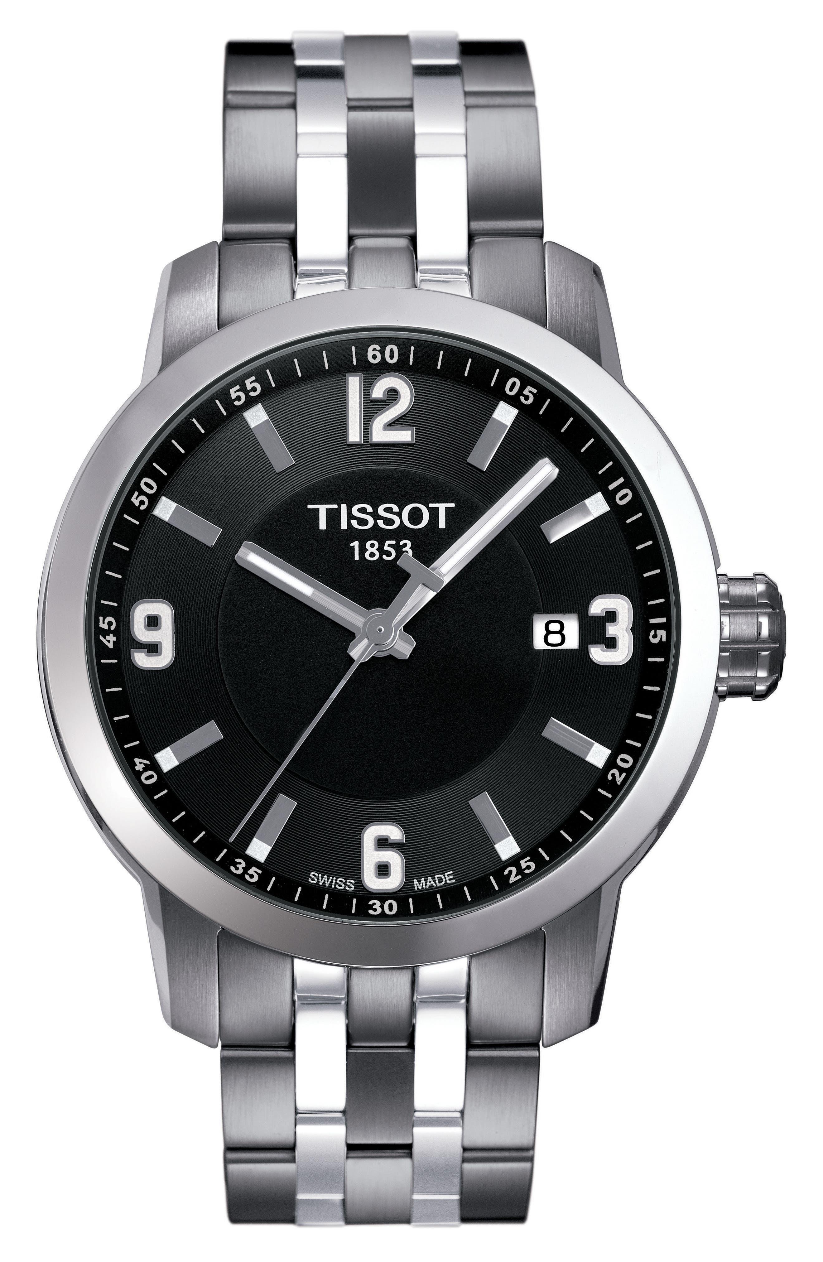 PRC200 Bracelet Watch, 39mm,                             Main thumbnail 1, color,                             Silver/ Black/ Silver