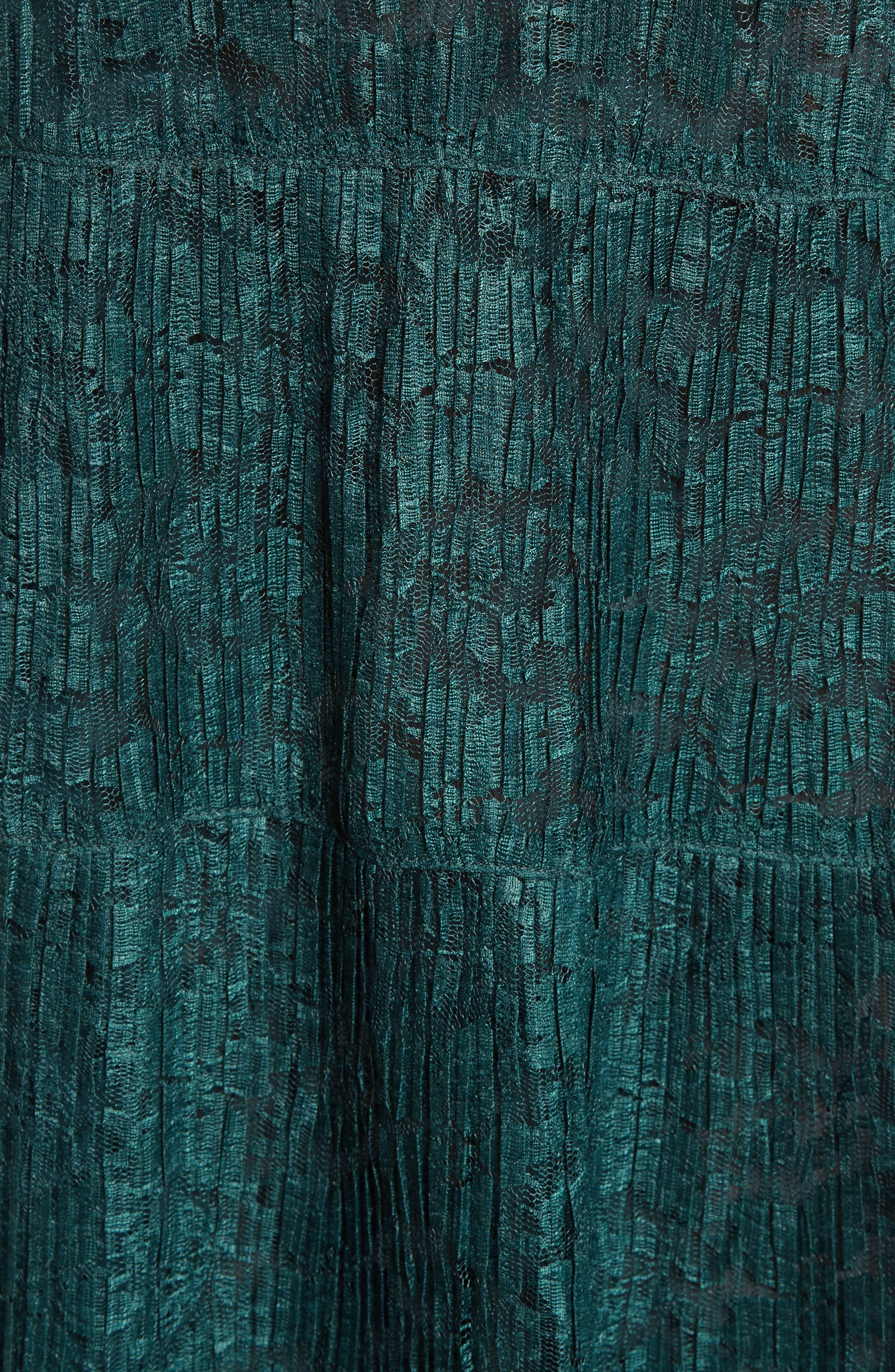Lace Ruffle Neck Dress,                             Alternate thumbnail 5, color,                             Deep Forest